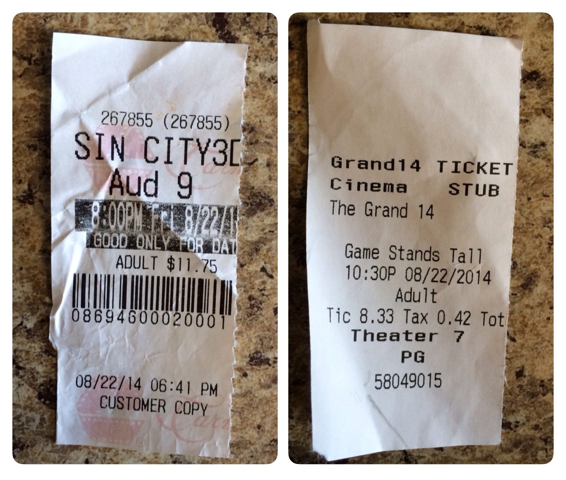 "I saw ""Sin City"" and ""When the Game Stands Tall"" on the same night in different theaters last Friday."