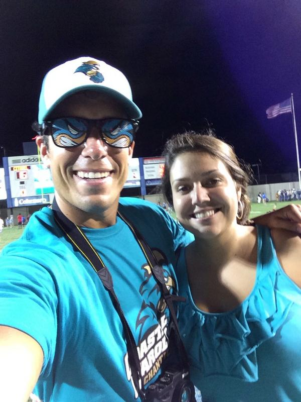 Sidney and I on the field after the game. We had a good time. GO CHANTS!