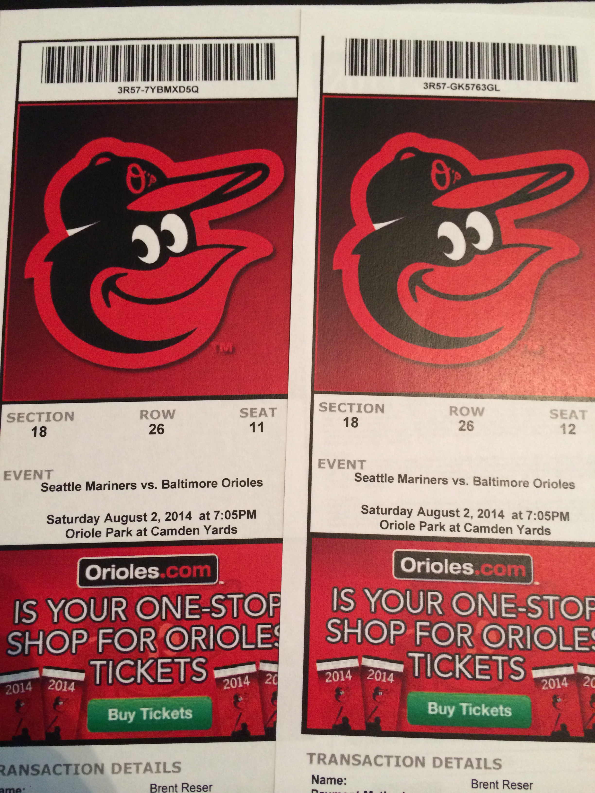 Our tickets for tomorrow's Baltimore Orioles vs. Seattle Mariners game.
