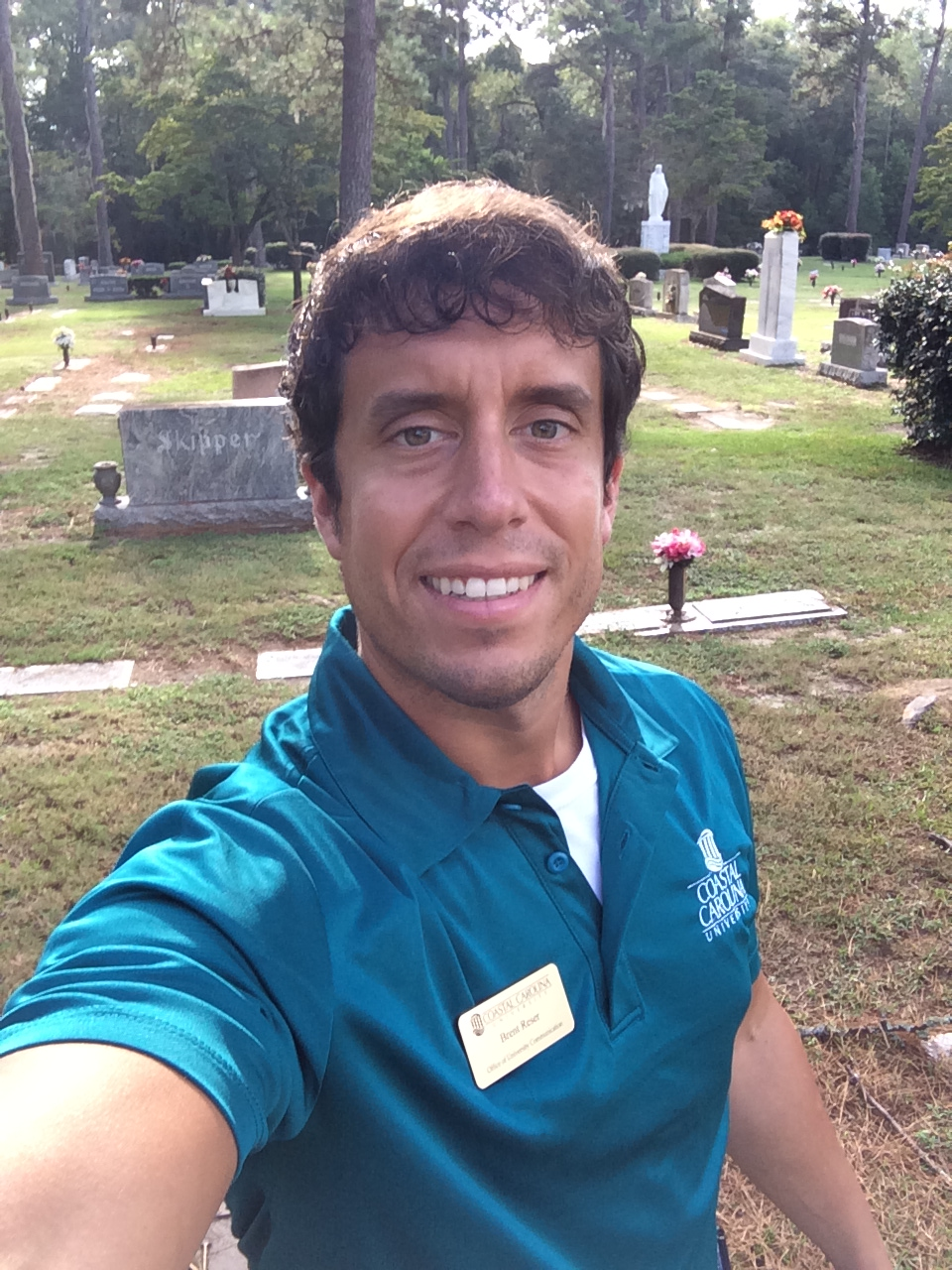 Me at the Hillcrest Cemetery in Conway, South Carolina, early this evening.