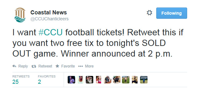 This was the tweet that was sent out asking our social media audience to retweet it for a chance to win football tickets.