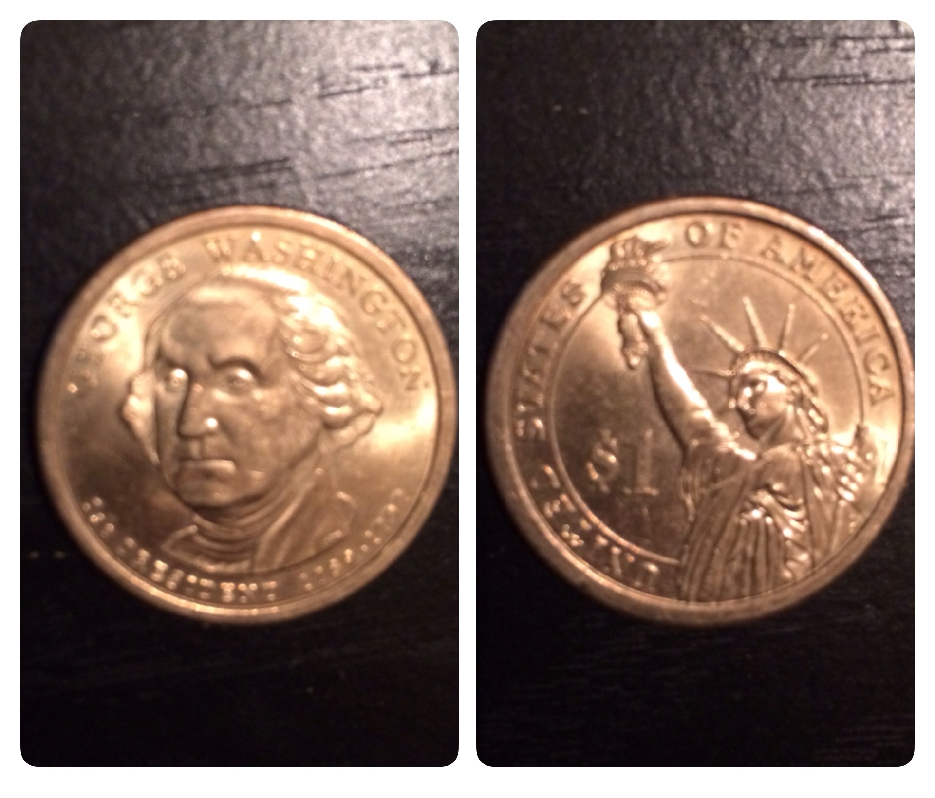 A look at the front and back of a Presidential dollar coin.
