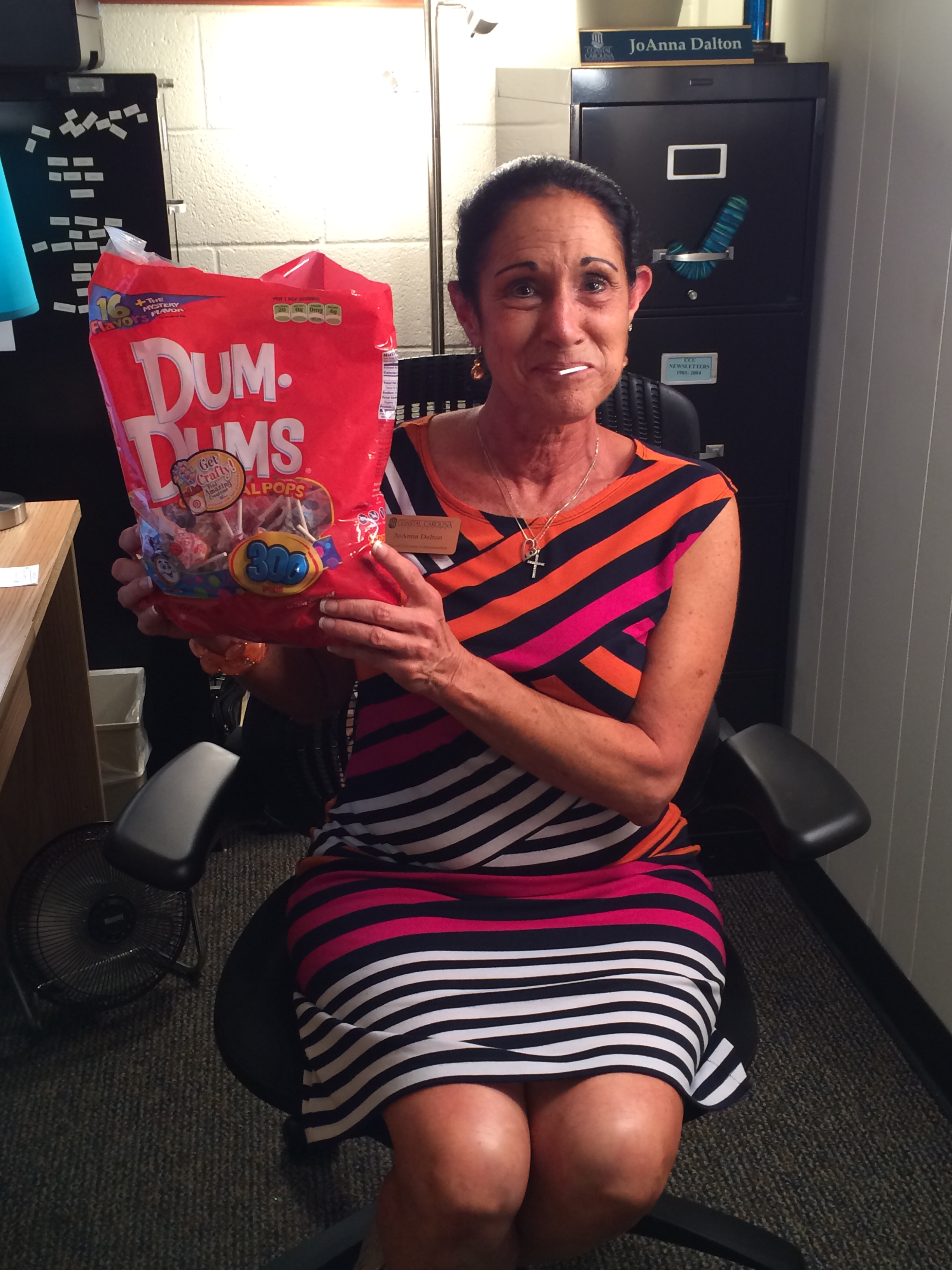 Joanna and her BIG bag of Dum Dums.