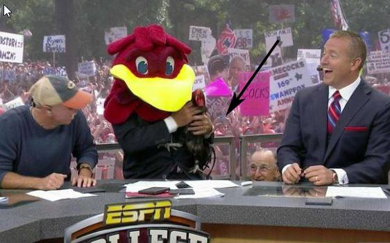 Follow the arrow and that is me during the best time of College Gameday.