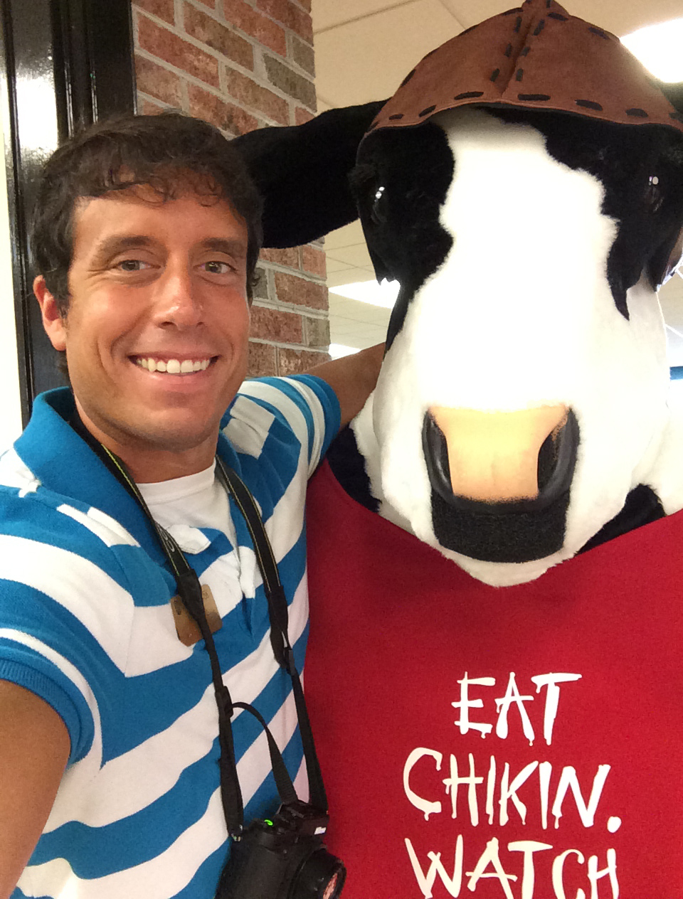 I took a photo with the Chick-fil-A cow at today's grand opening.