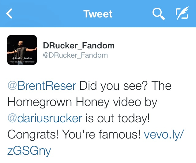 I was alerted that the video had been released by the Twitter account @DRucker_Fandom