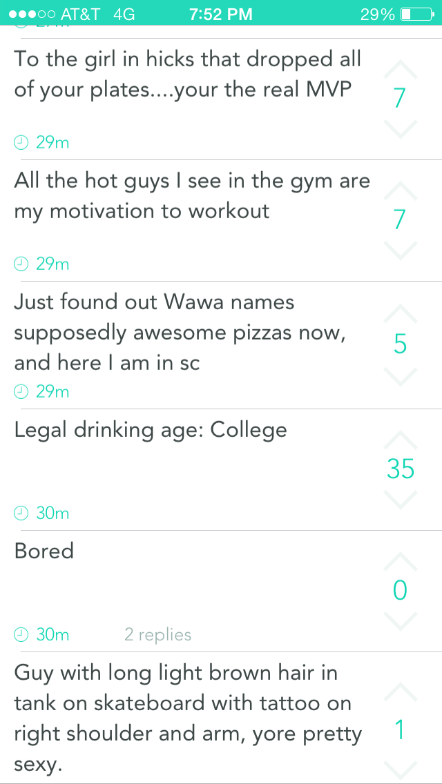 After a lot of searching, this was one stream of Yaks that I could post that weren't inappropriate. This is from the Coastal Carolina peak and it gives you a feel for what Yik Yak is all about.