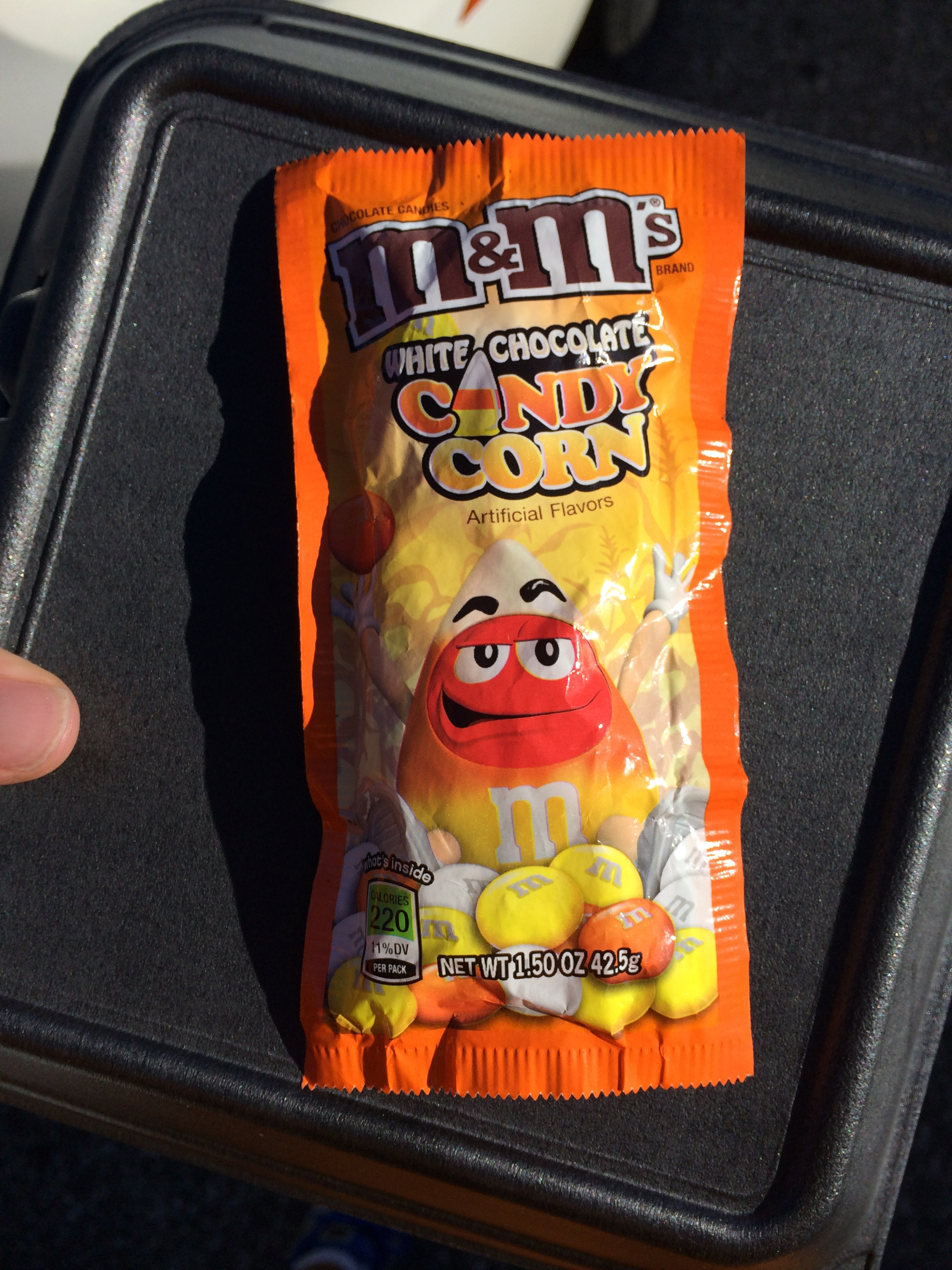 The package of Candy Corn M&M's that I purchased.