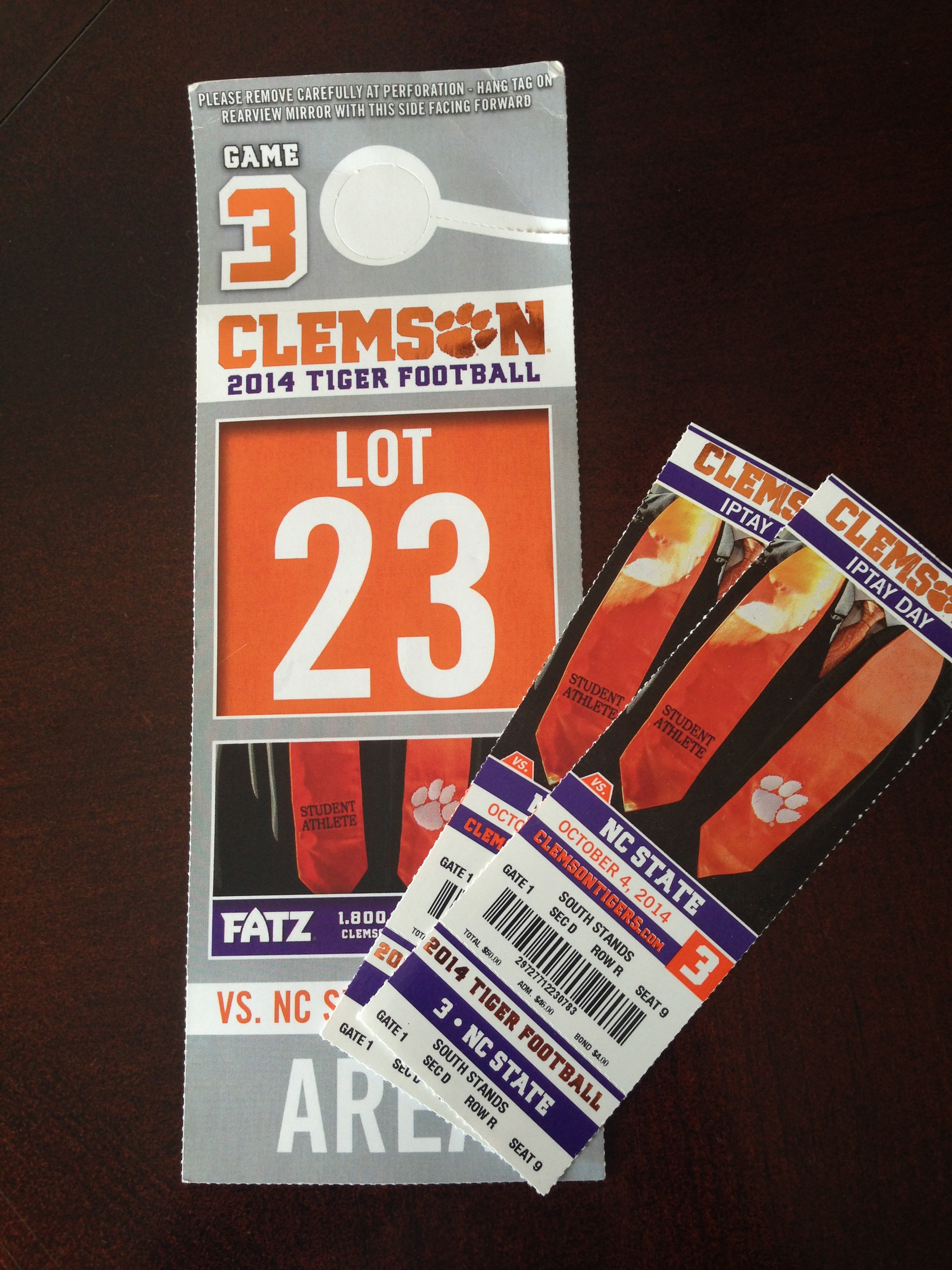 Tickets and parking pass for this weekend's game.