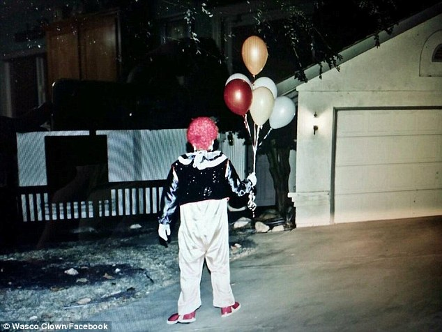 This photo of a clown wandering up to a random house makes me smile.