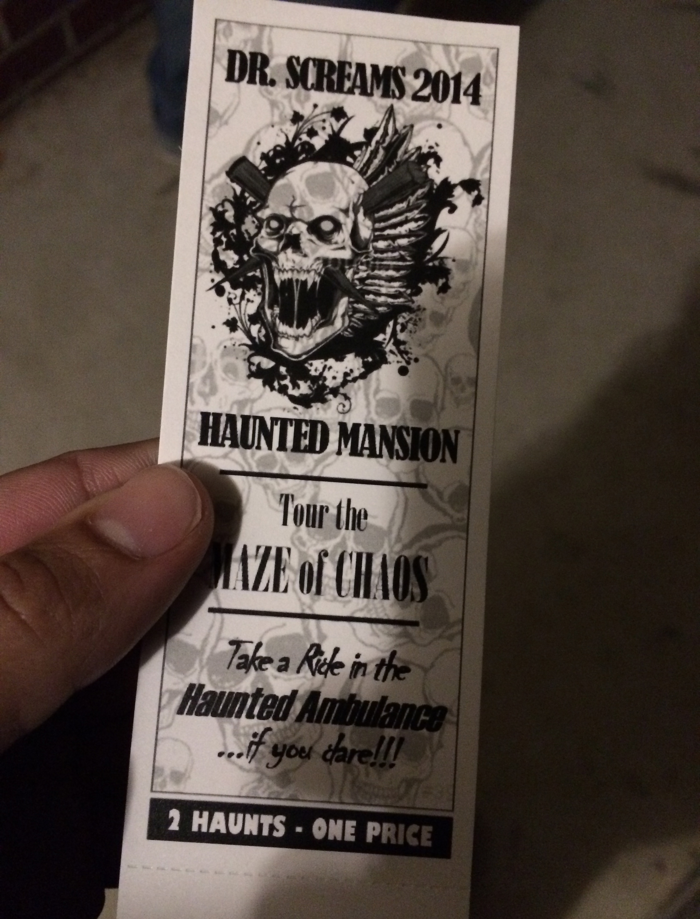 My ticket for Dr. Screams.