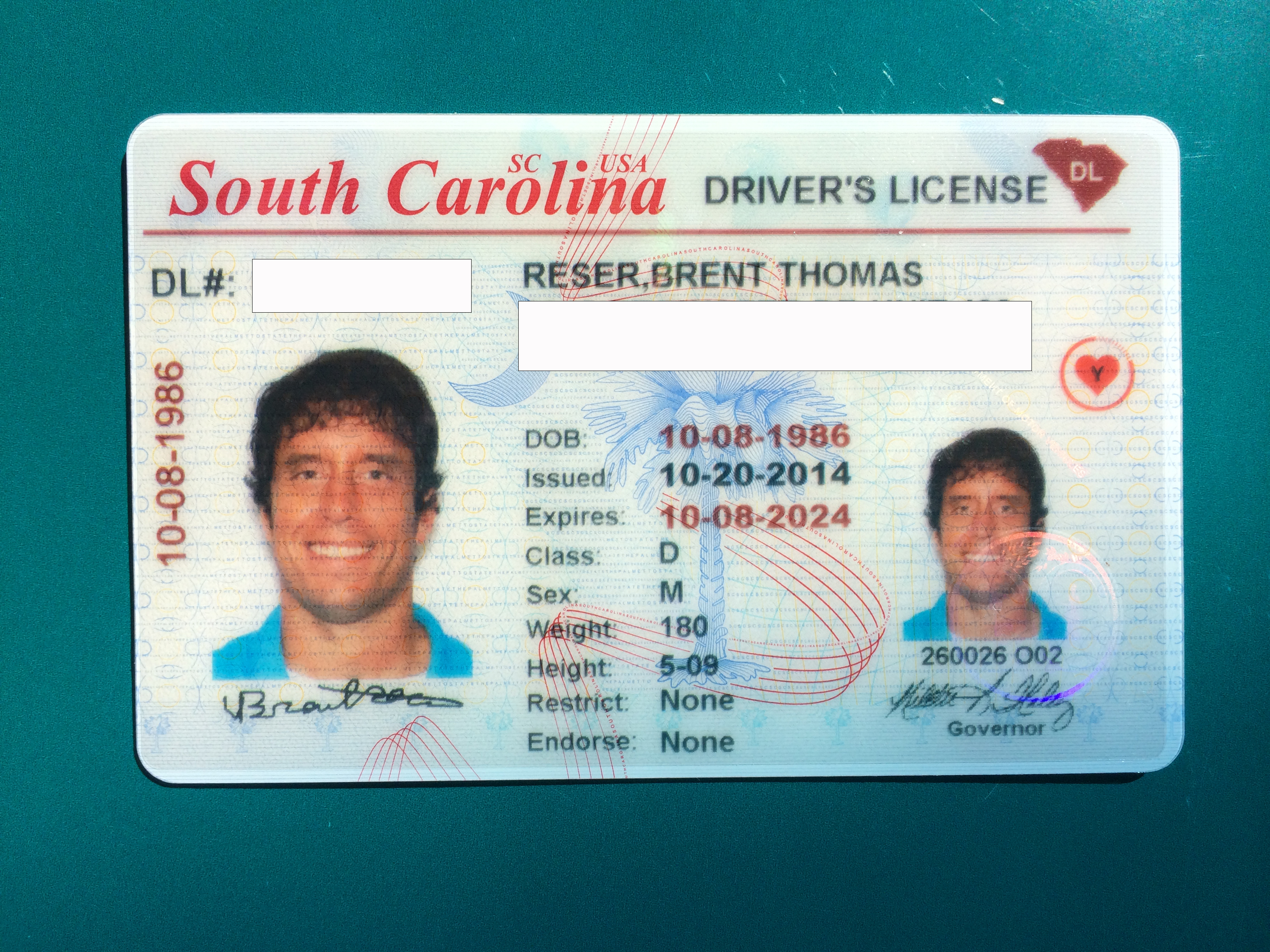 Check out my new South Carolina driver's license!