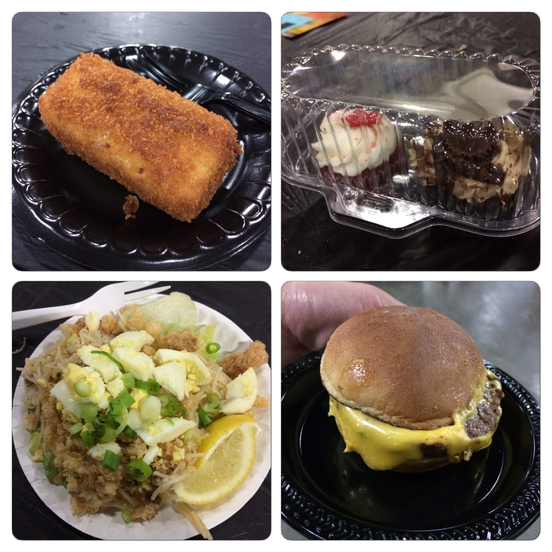 Here is a montage of some more of the items we ate. The top left hand image is the deep fried macaroni and cheese. The top right photo are the cupcakes...I had a peanut butter cake while Sidney had red velvet. The bottom right hand photo is a cheeseburger (River City Grill), and the bottom left image is the