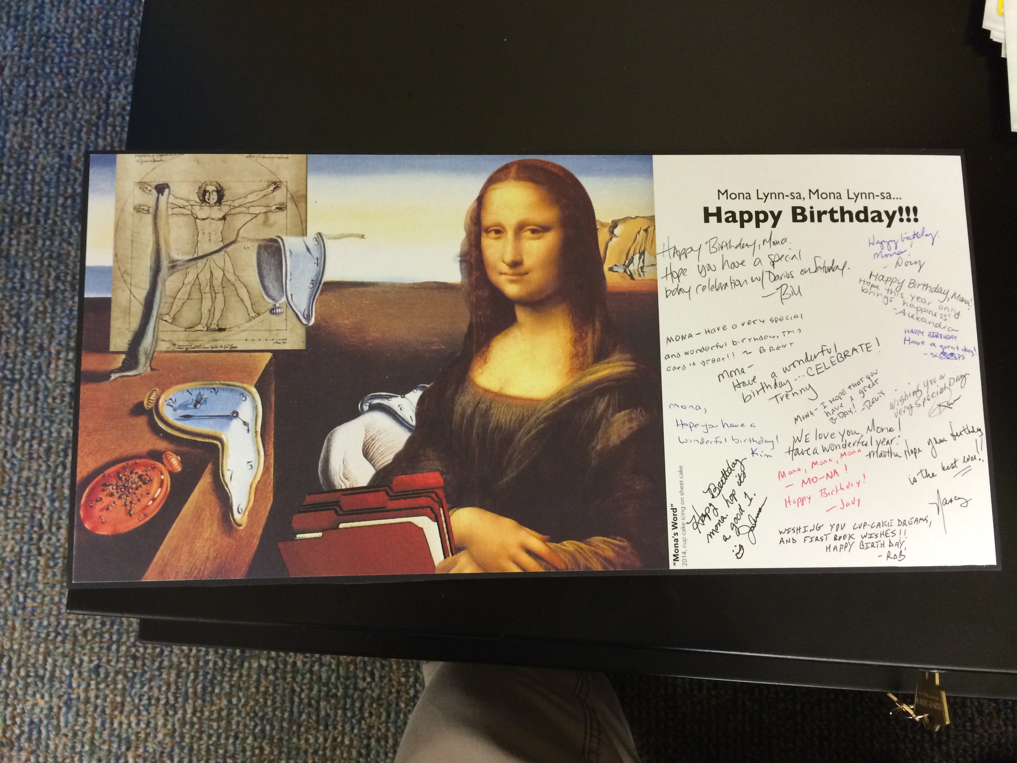 This was the card made for our Media Coordinator, Mona. As you can tell, it is a play on her name.