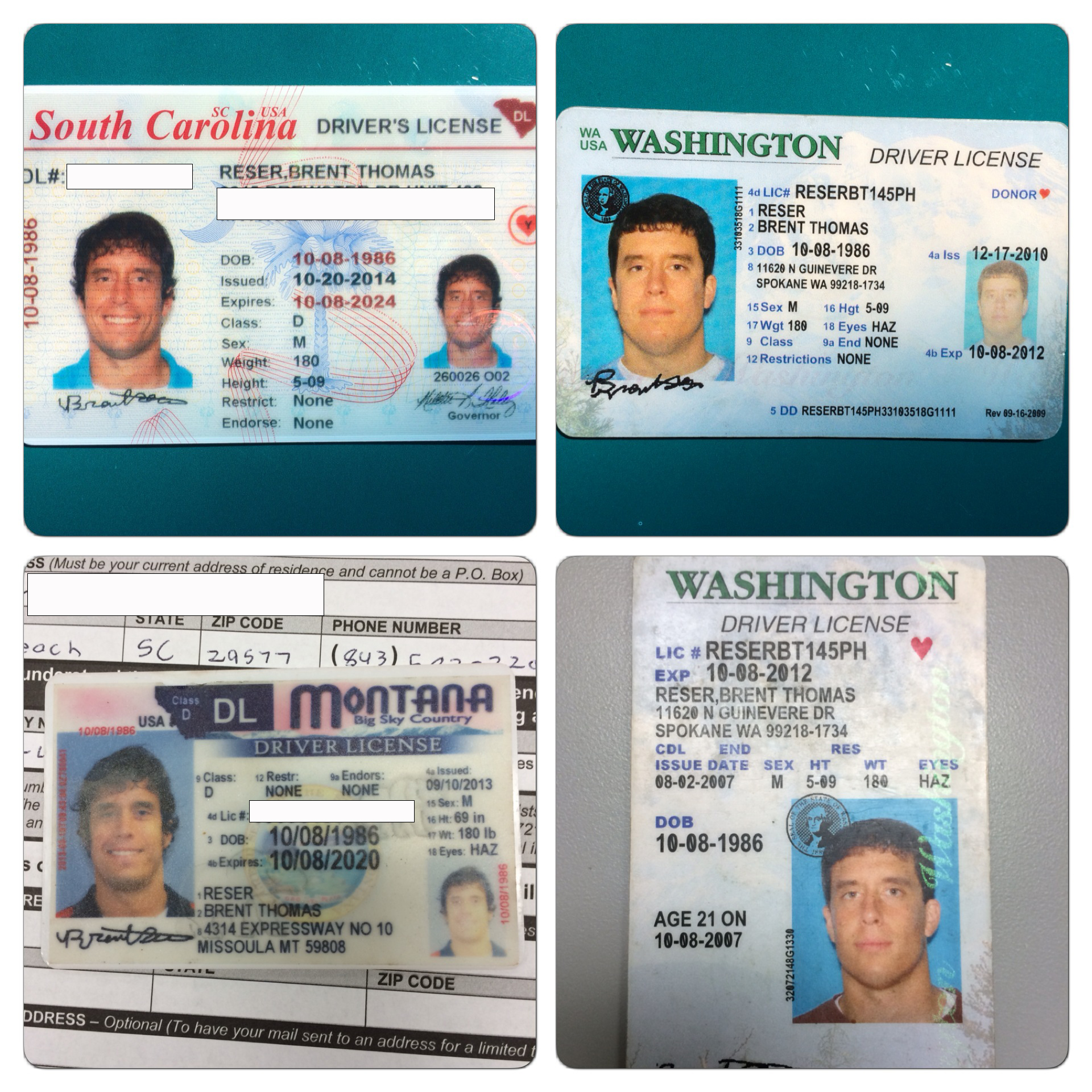 For your viewing pleasure, here are some of my past licenses.