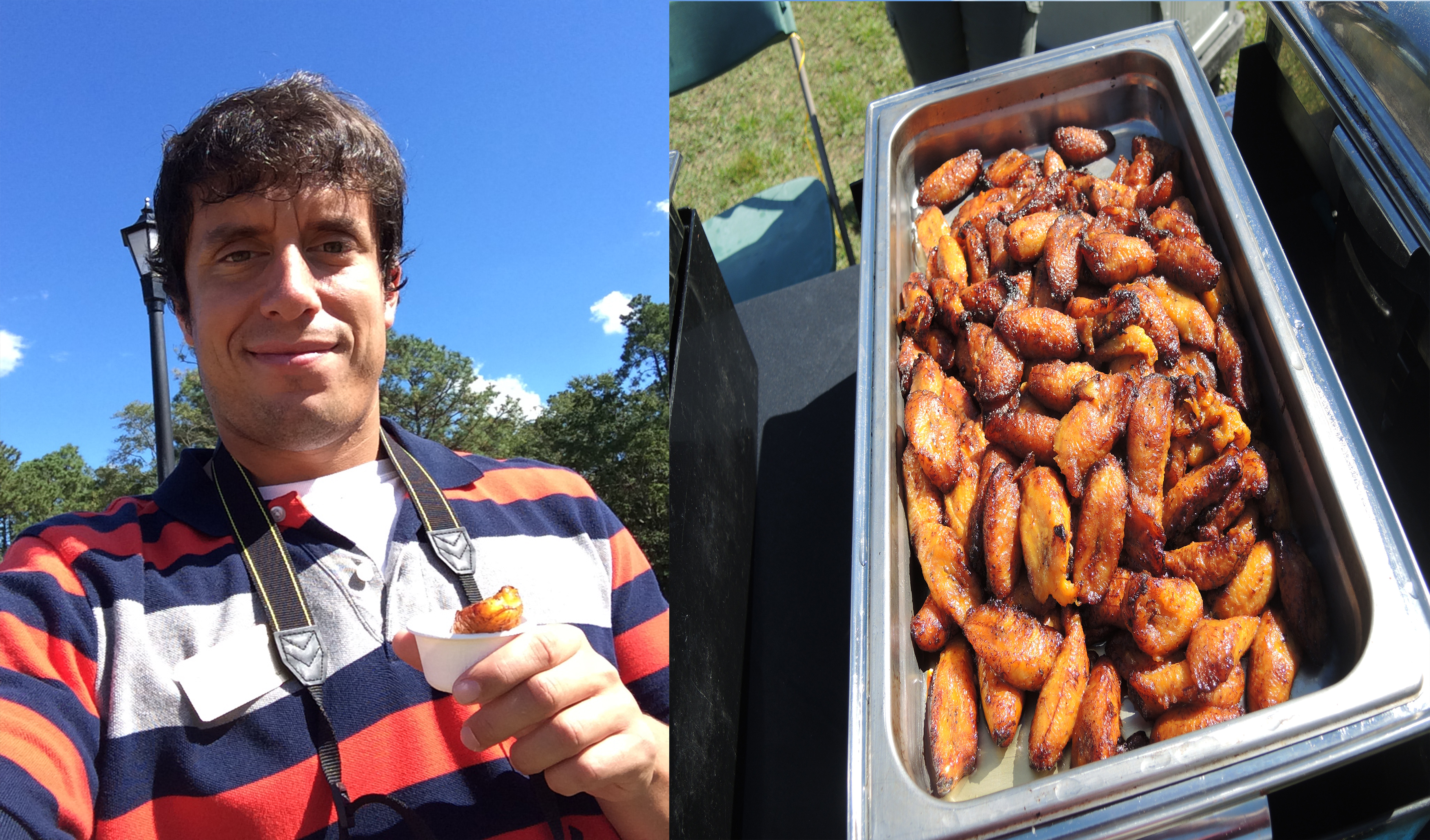 Me with a sweet plantain today and then on the right is the pan filled with the tasty treat.