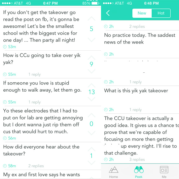 The #CCU Yik Yak Takeover caused a lot of buzz on Yik Yak today. As you can see, some of it was positive and some of it was in a mocking nature. The portions of text that are blocked out contained bad language.