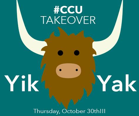 The #CCU Yik Yak Takeover will take place this Thursday, October 30.