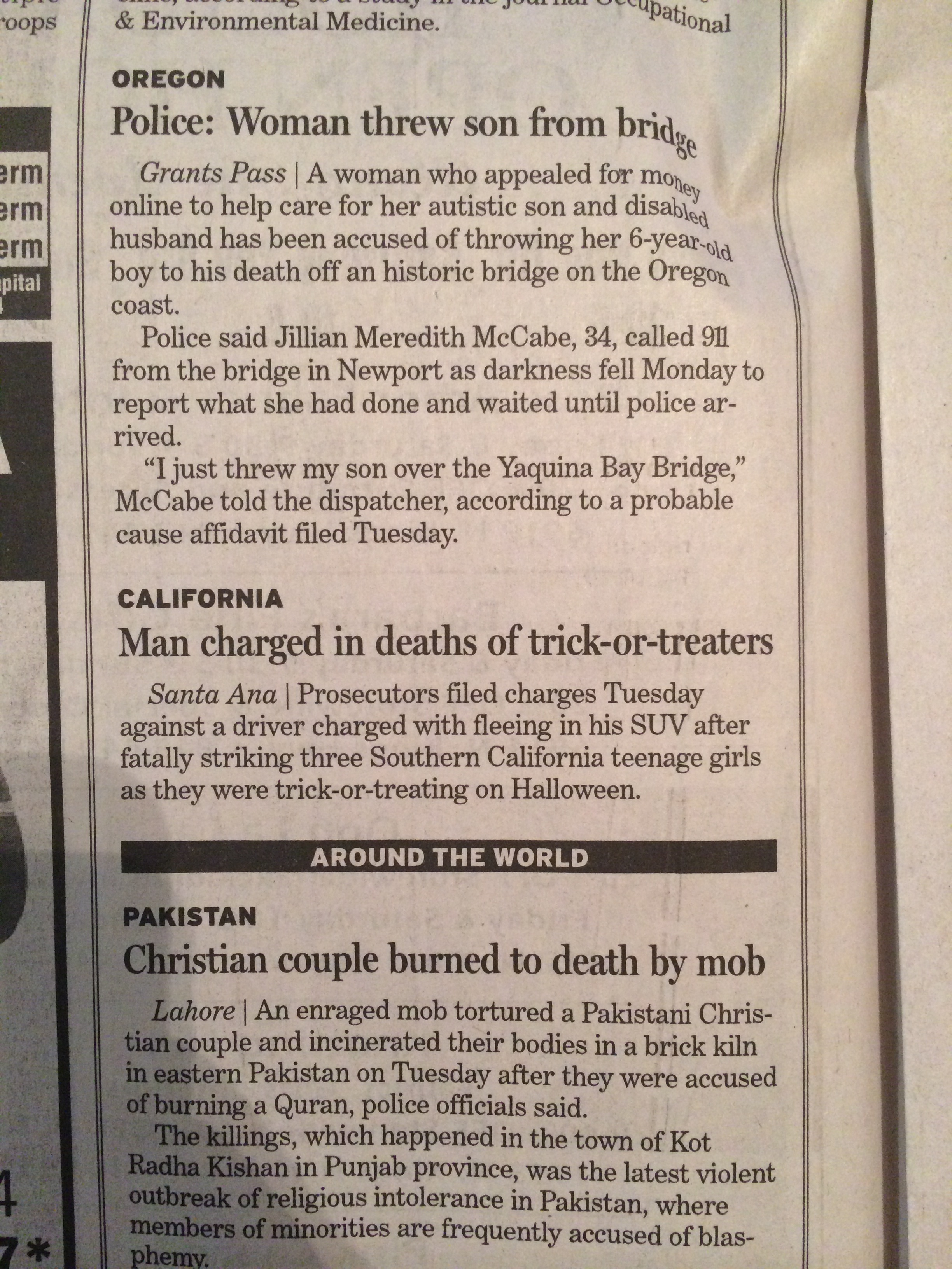 These sad news stories were piled right on top of each other.