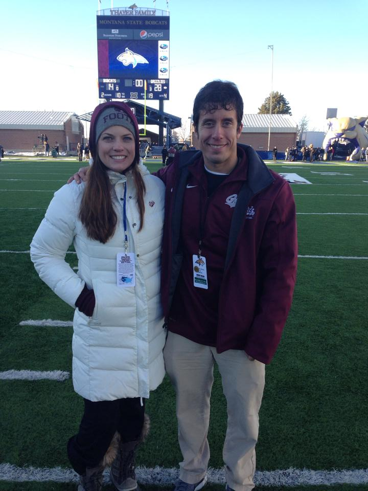 Brynn and I on the field after another #GrizCat football victory in 2013.