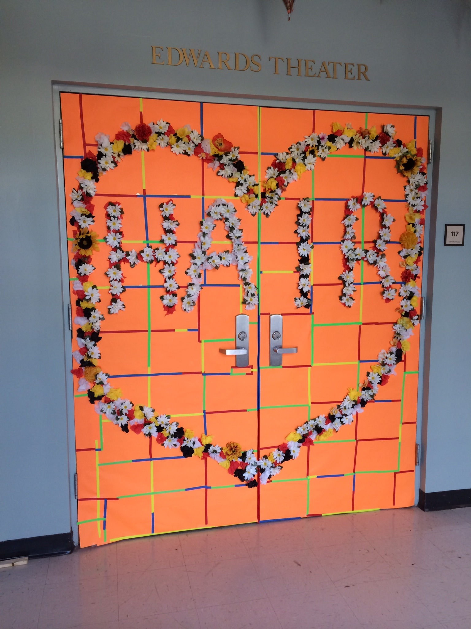 """This is the door that leads to the Black Box Theatre at Coastal Carolina University. As you can see, it is decorated for """"Hair."""""""