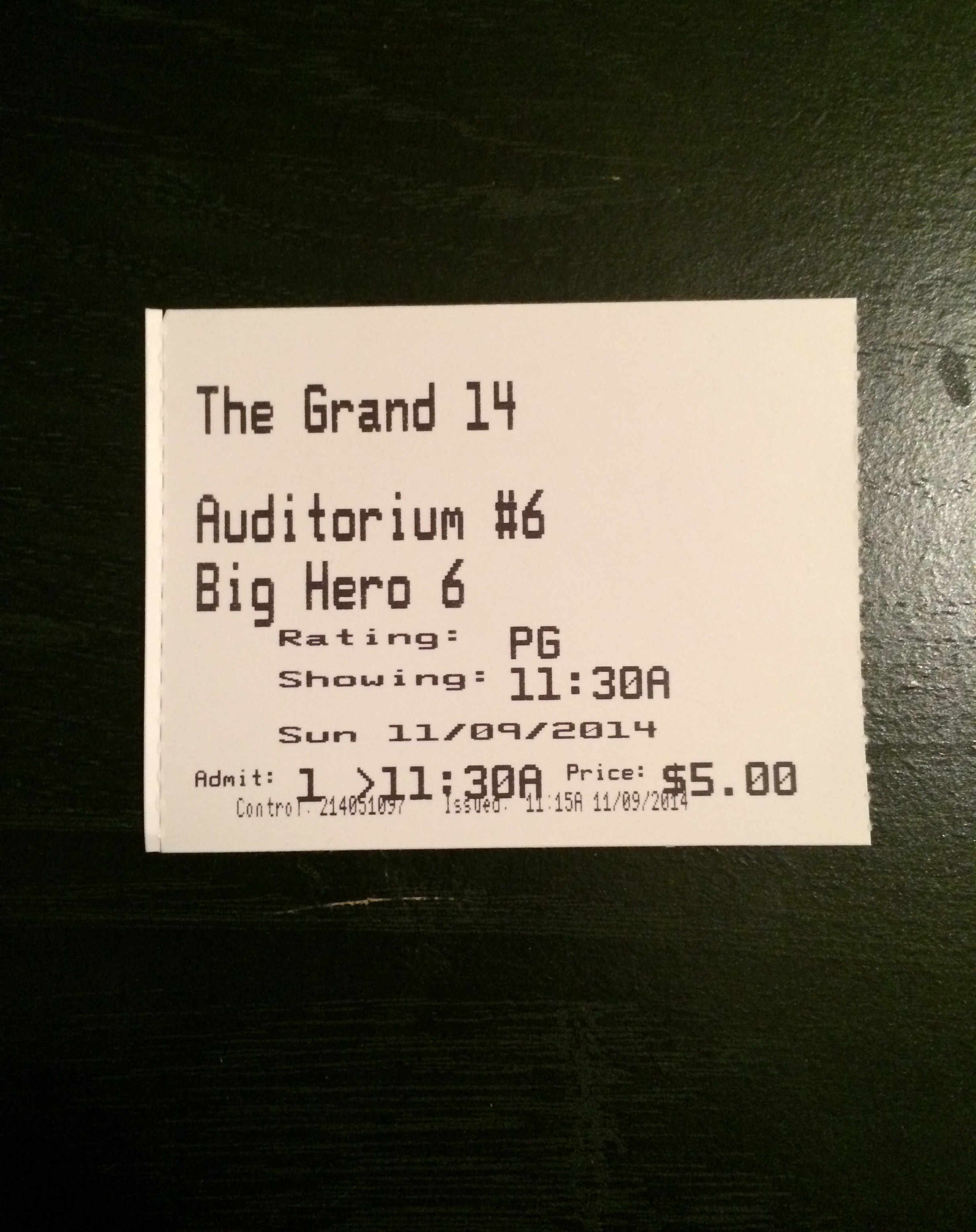 "I saw ""Big Hero 6"" today. You can't beat that ticket price."