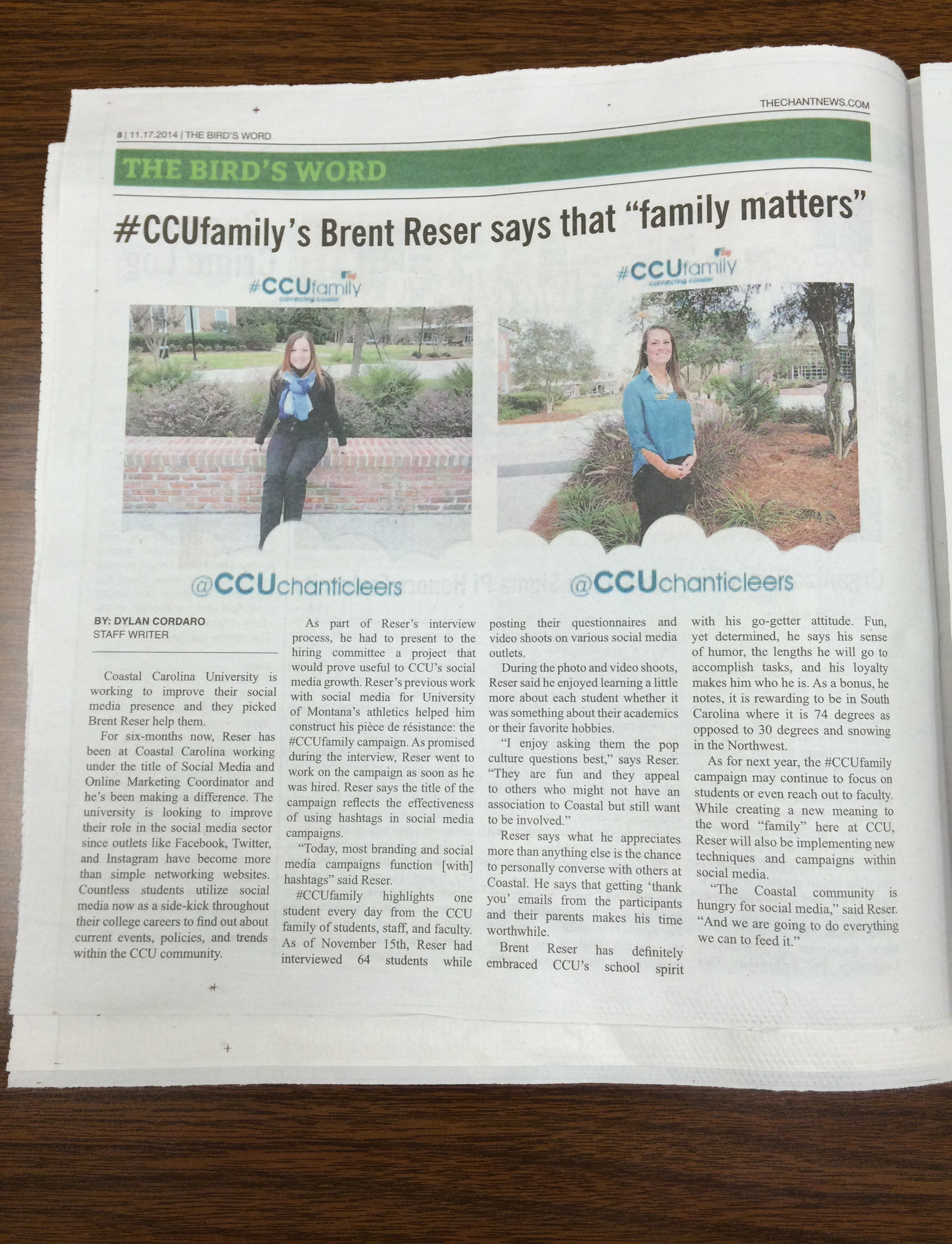 A photo of the physical copy of the latest story that dealt with #CCUSocialMedia.