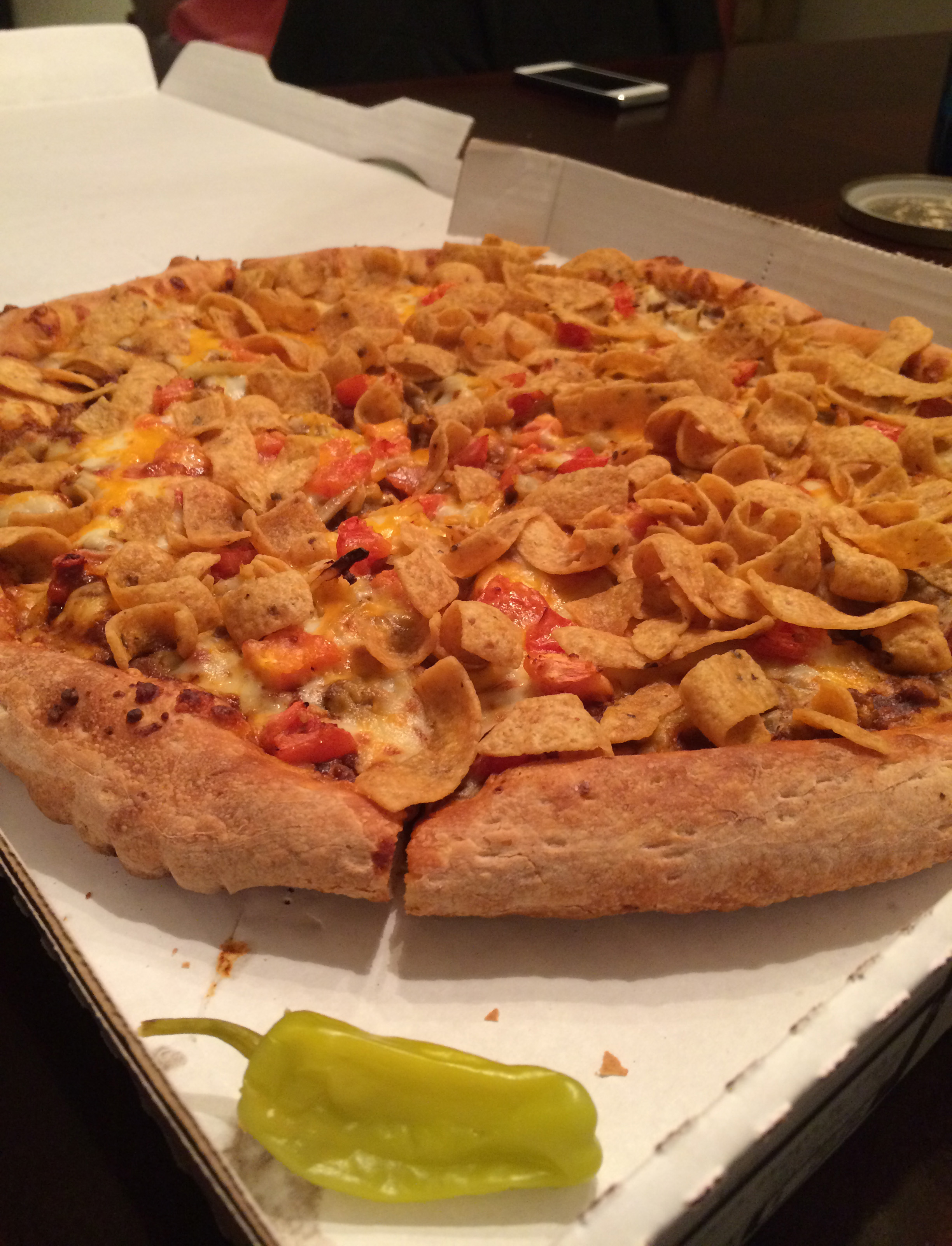 Another view of the Fritos Chili Pizza.