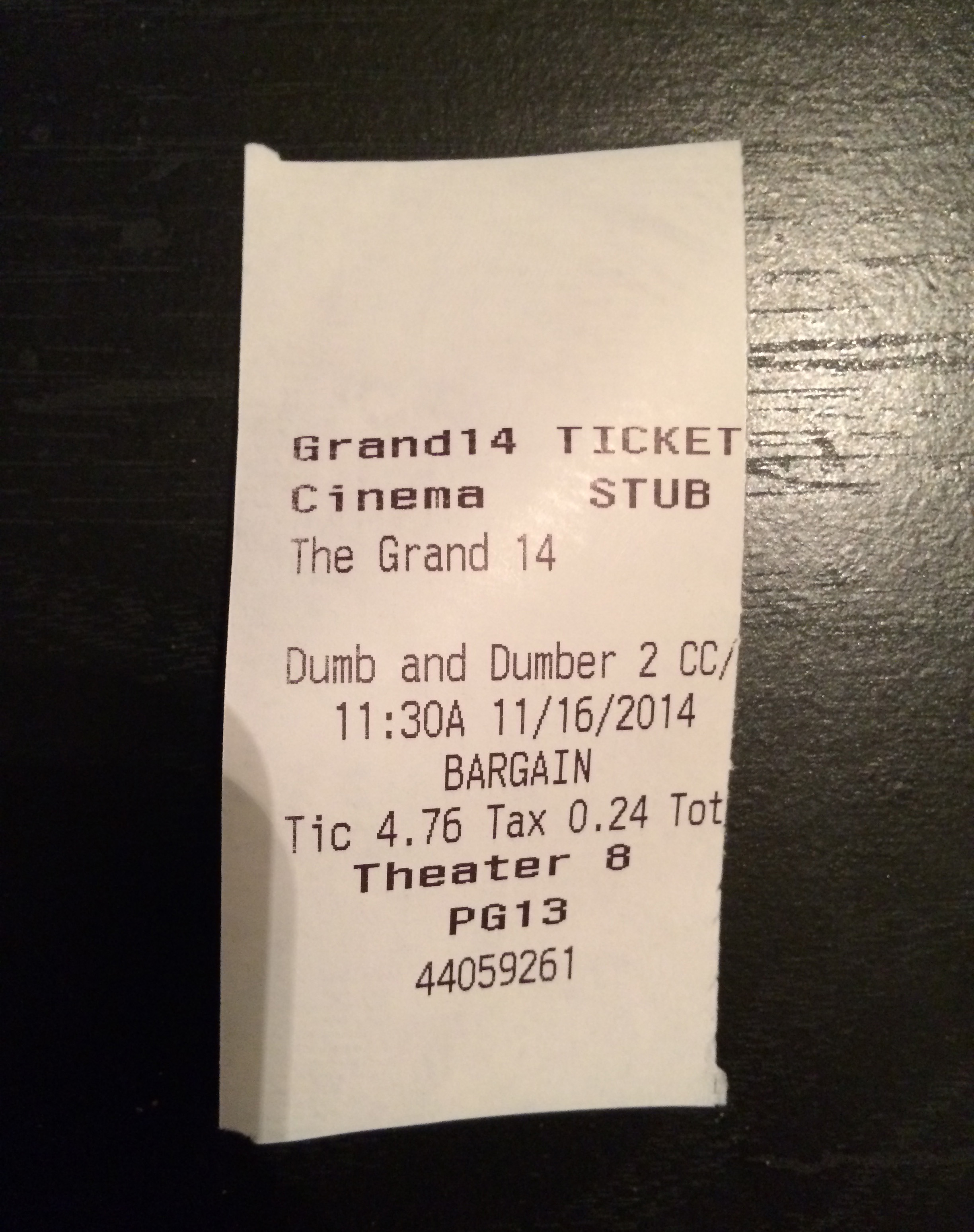 "My ticket for ""Dumb and Dumber To."""
