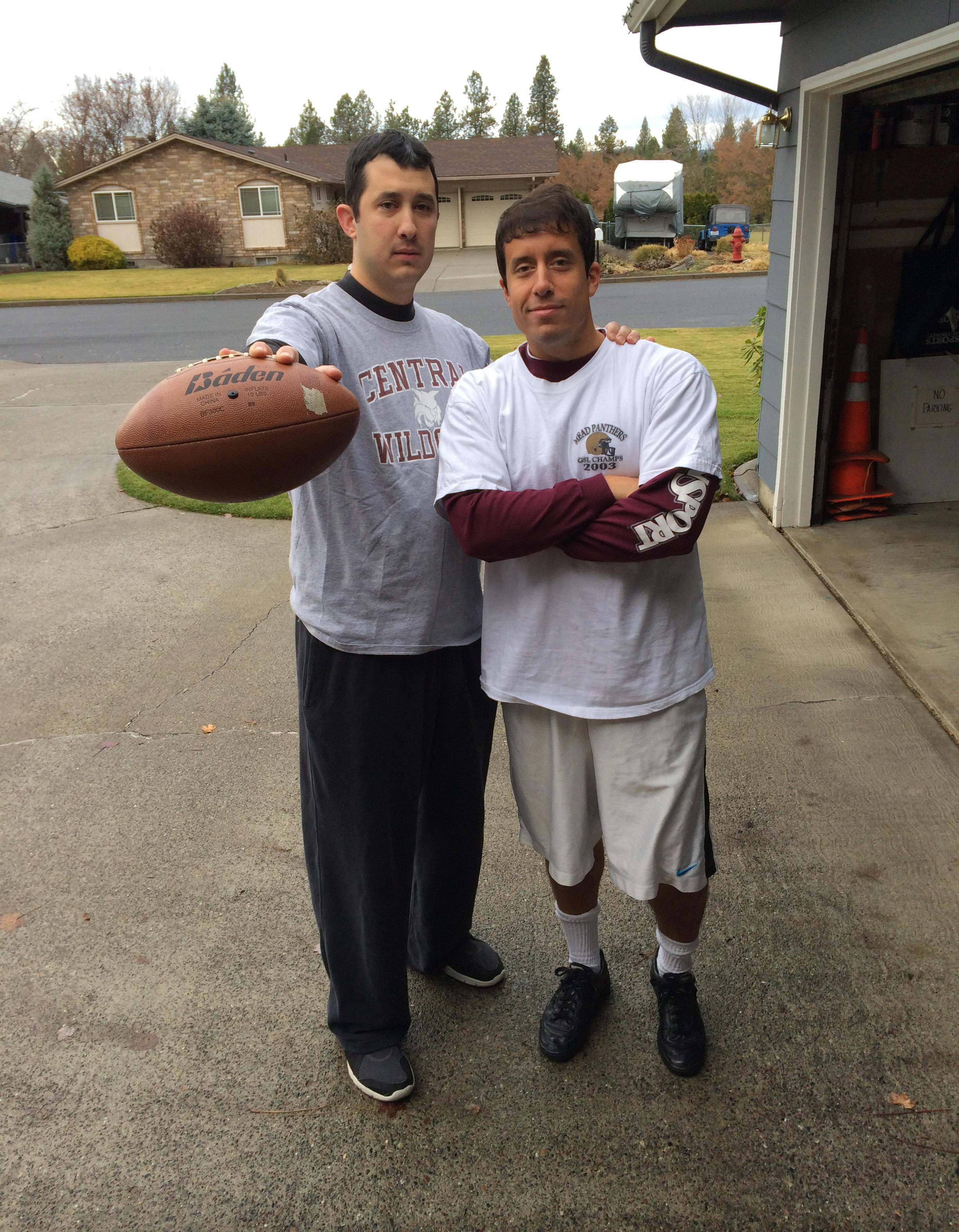 My brother and I right before the Turkey Bowl.