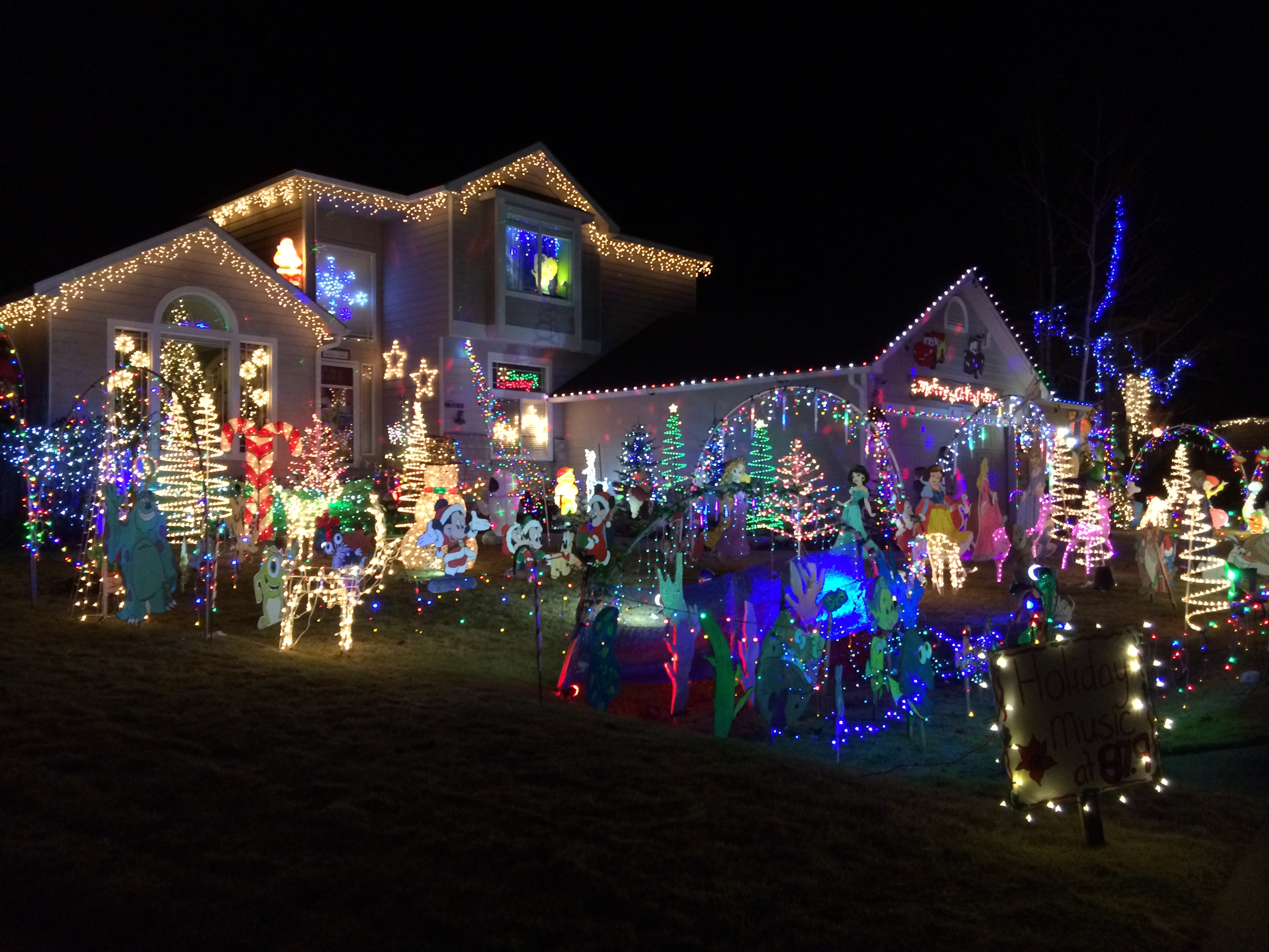 a look at the holiday disney themed house i visited on christmas eve