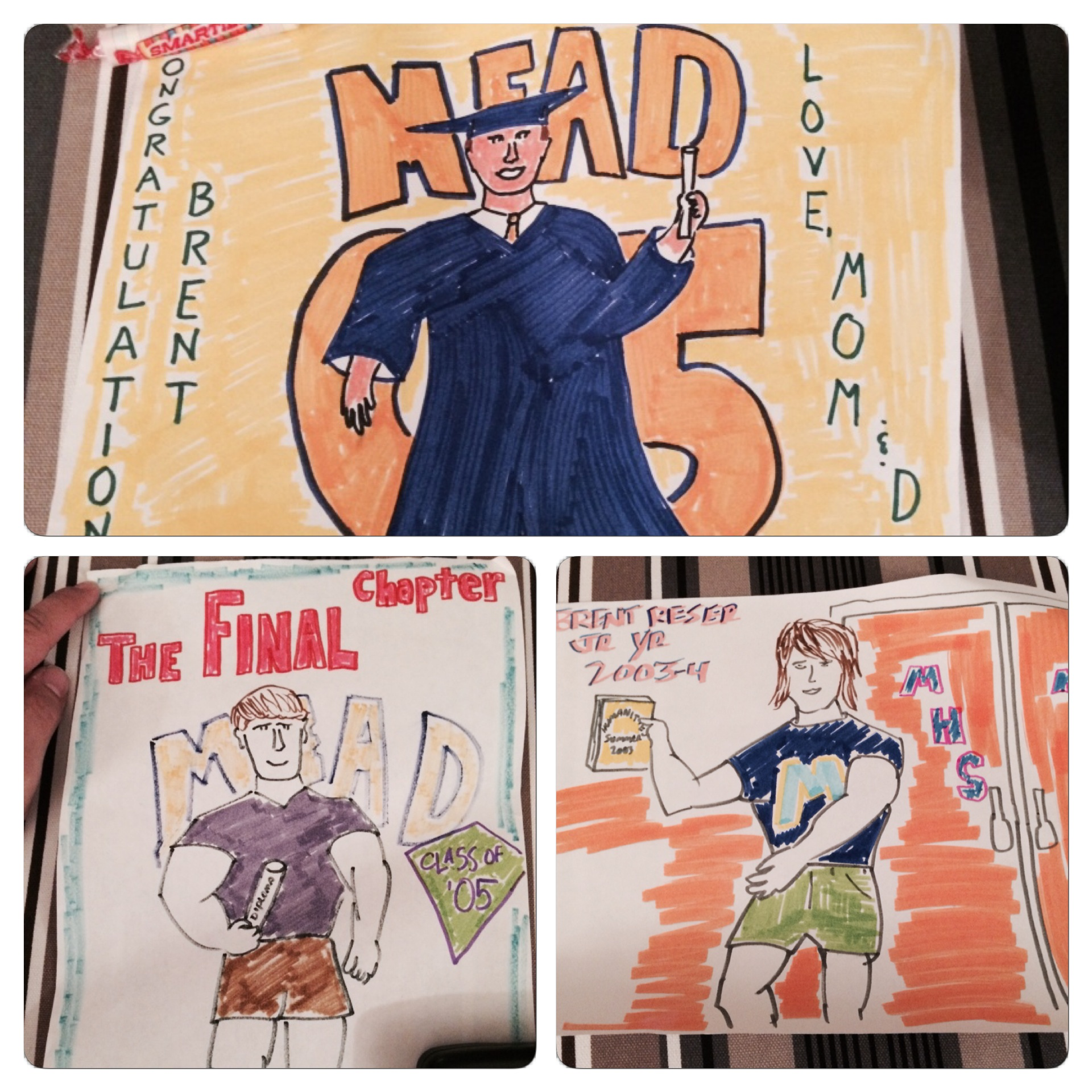 My dad had a neat tradition where he would create drawings for us on special occasions. Here is some of his work from my high school years.
