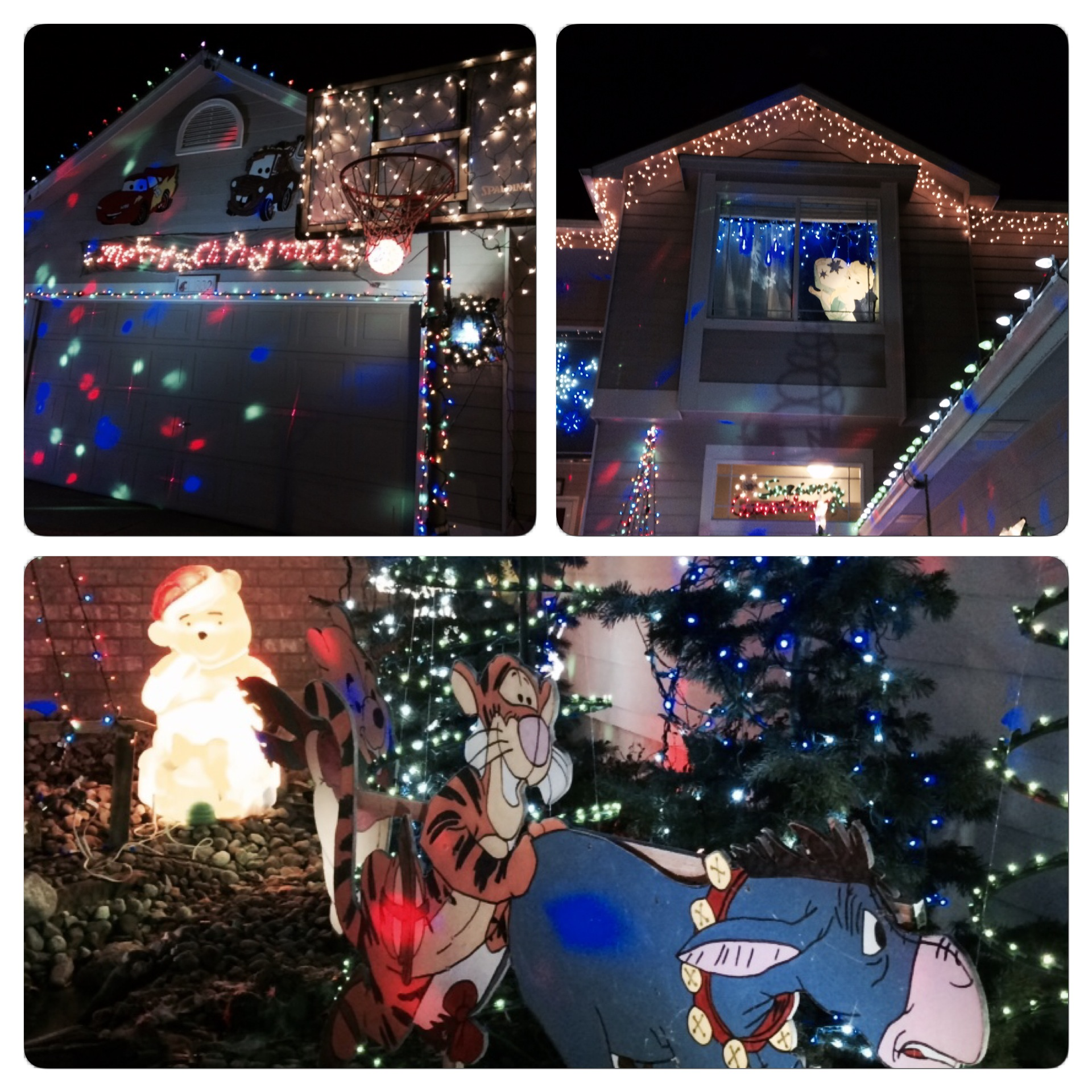 Even the basketball hoop and windows were decorated.