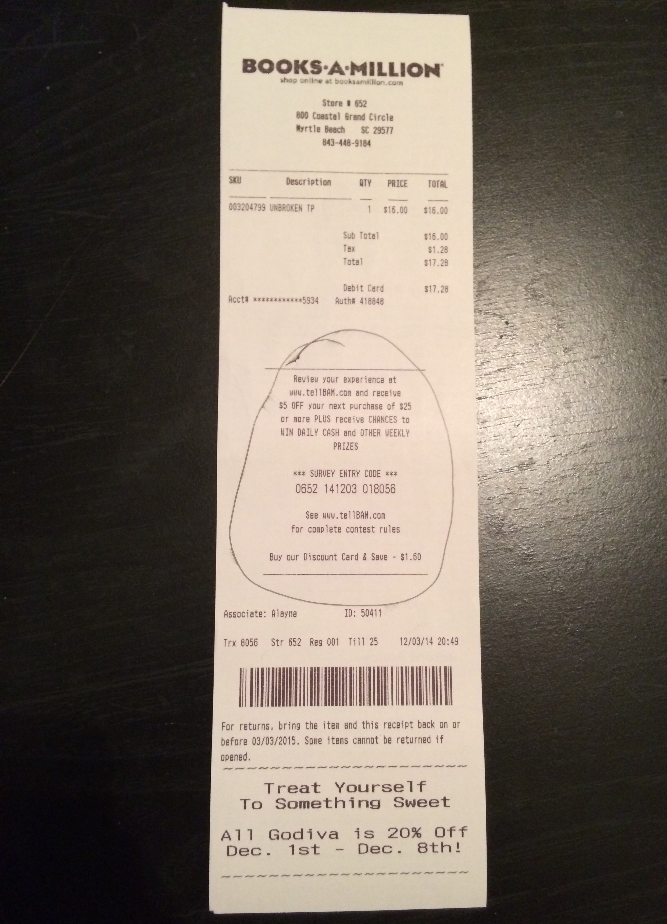 The receipt I received with the scribbled circle.