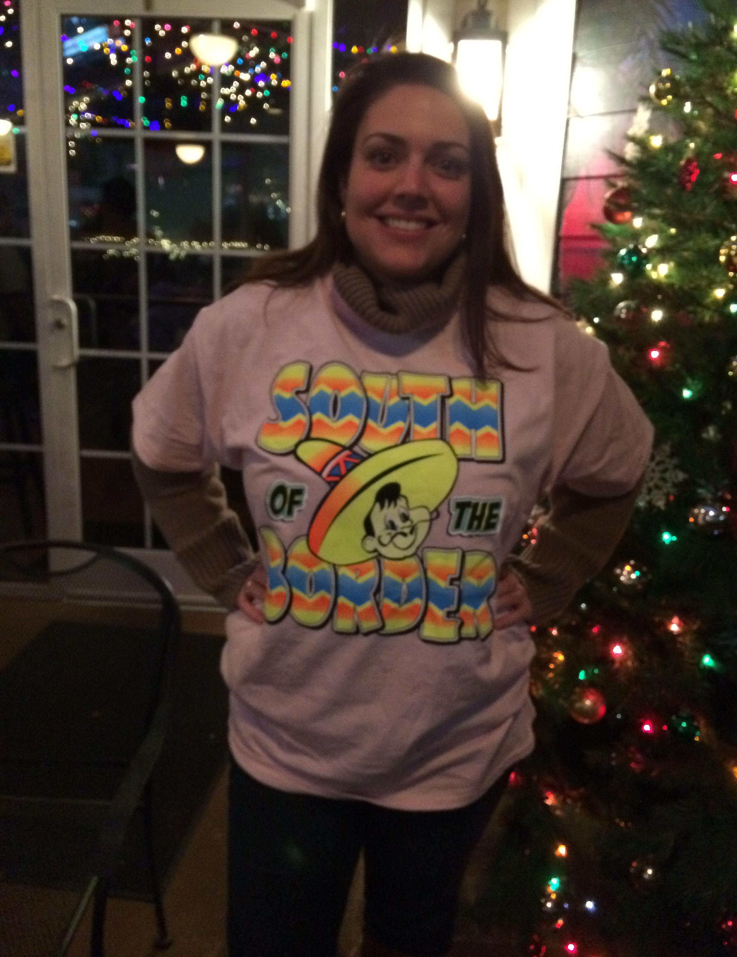 Sidney wearing her super tacky tourist shirt.