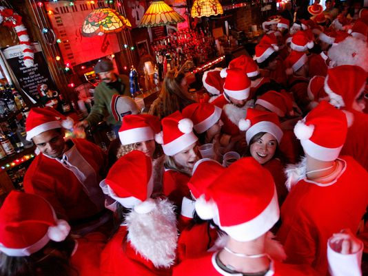 A look at a bar overtaken with SantaCon participants. (I got this photo from USA Today).