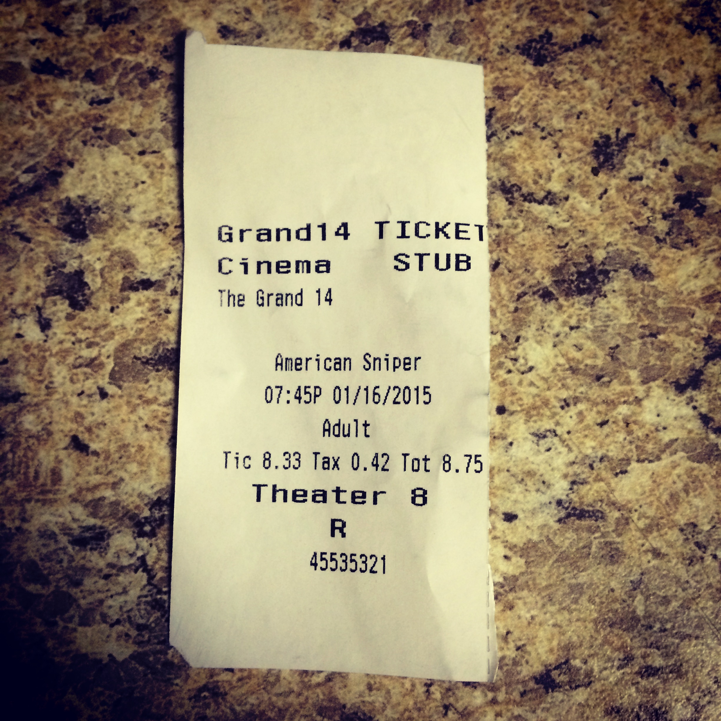 "My ticket from ""American Sniper."" It was a superb movie."