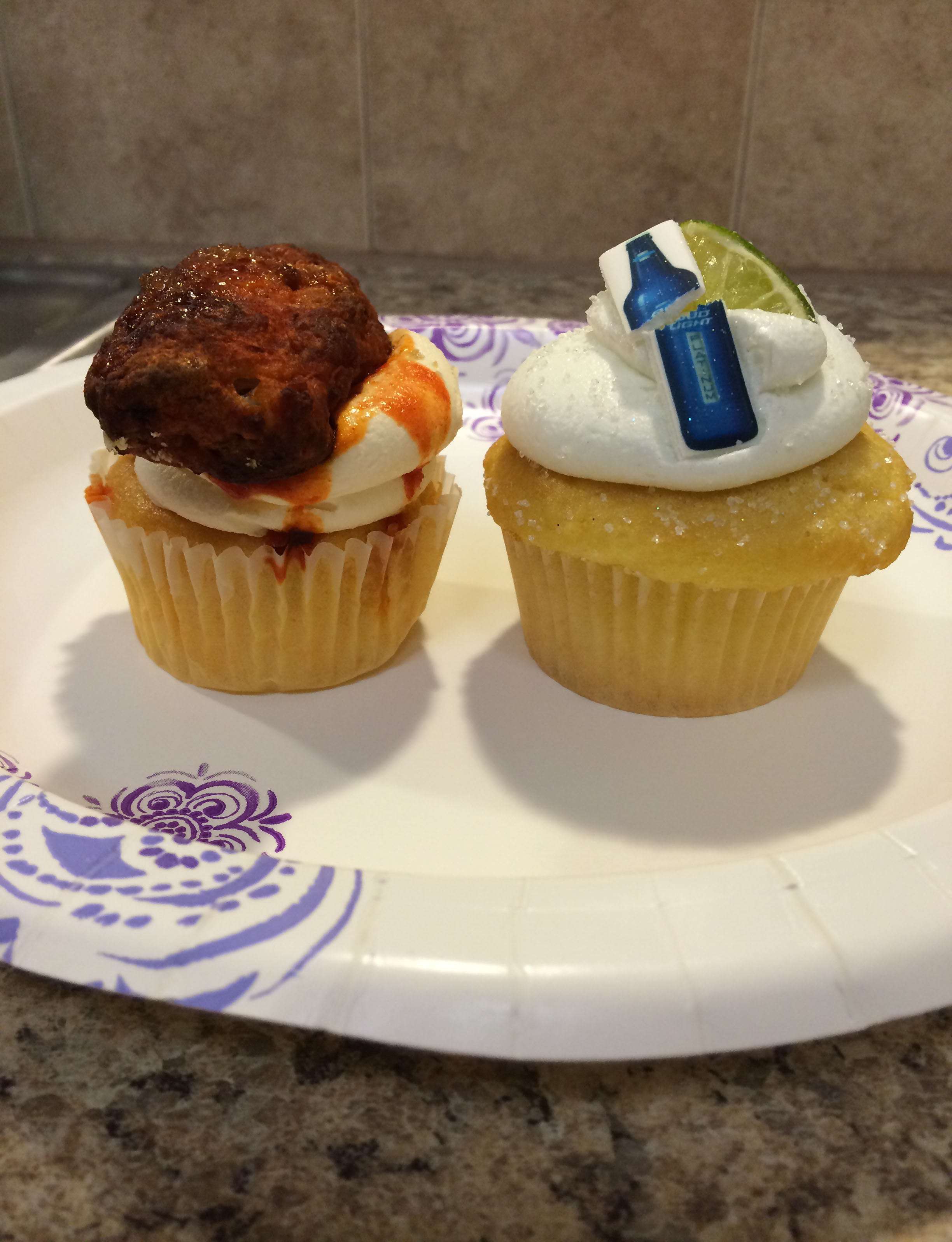 Here is a closer look at the famous Coccadotts cupcakes...chicken wing on the left and Bud Light on the right.