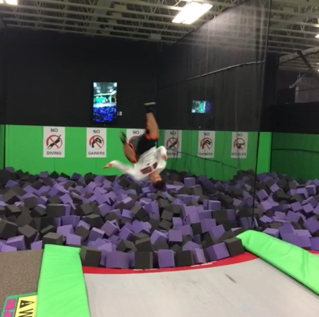 The foam pit made doing flips very comfortable.