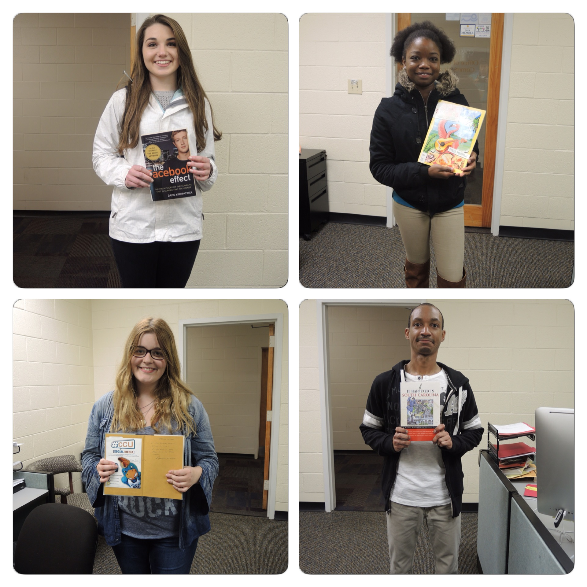 These are the four student winners who checked out the hidden books the past several days.