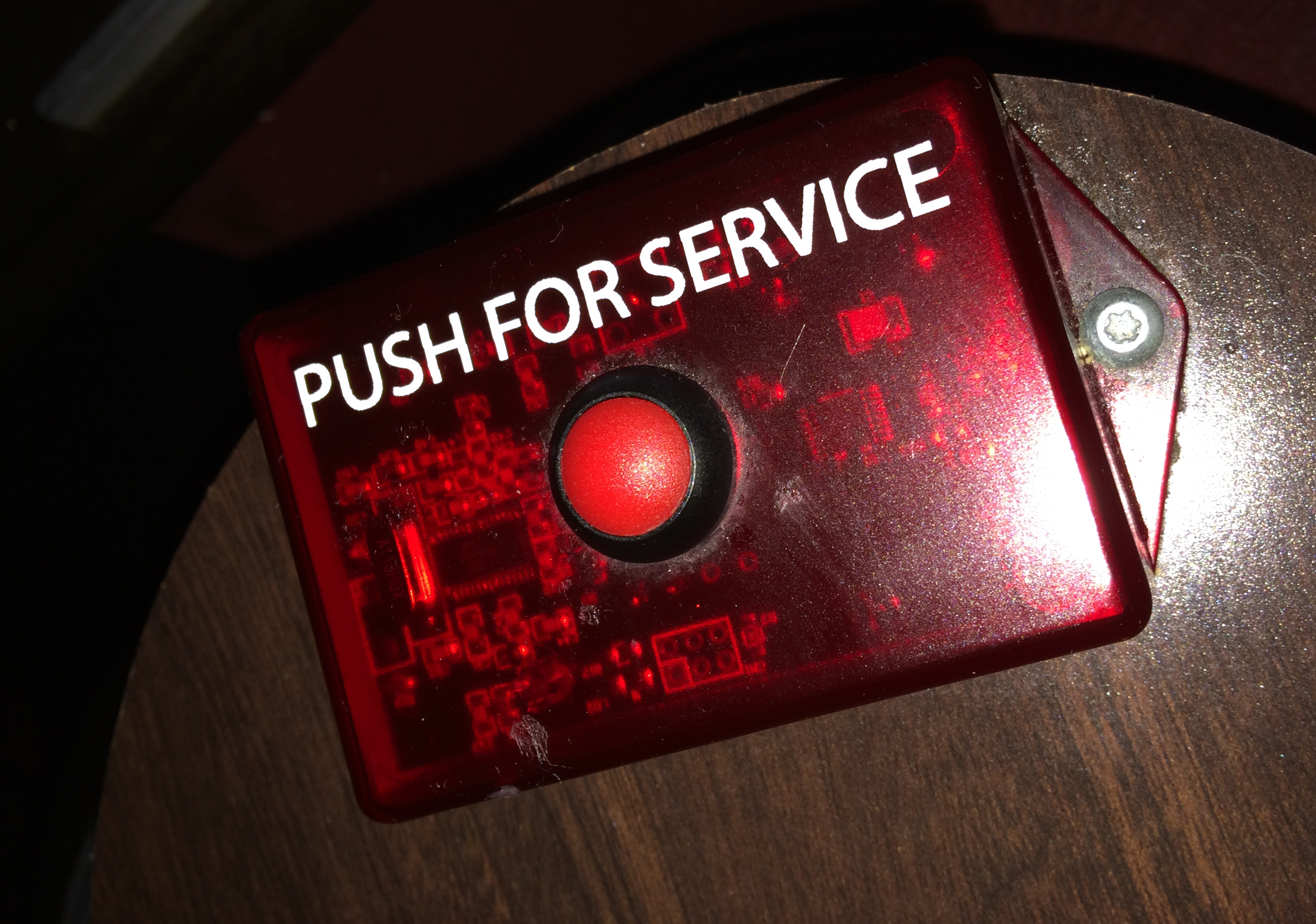 The button for us to push for service.
