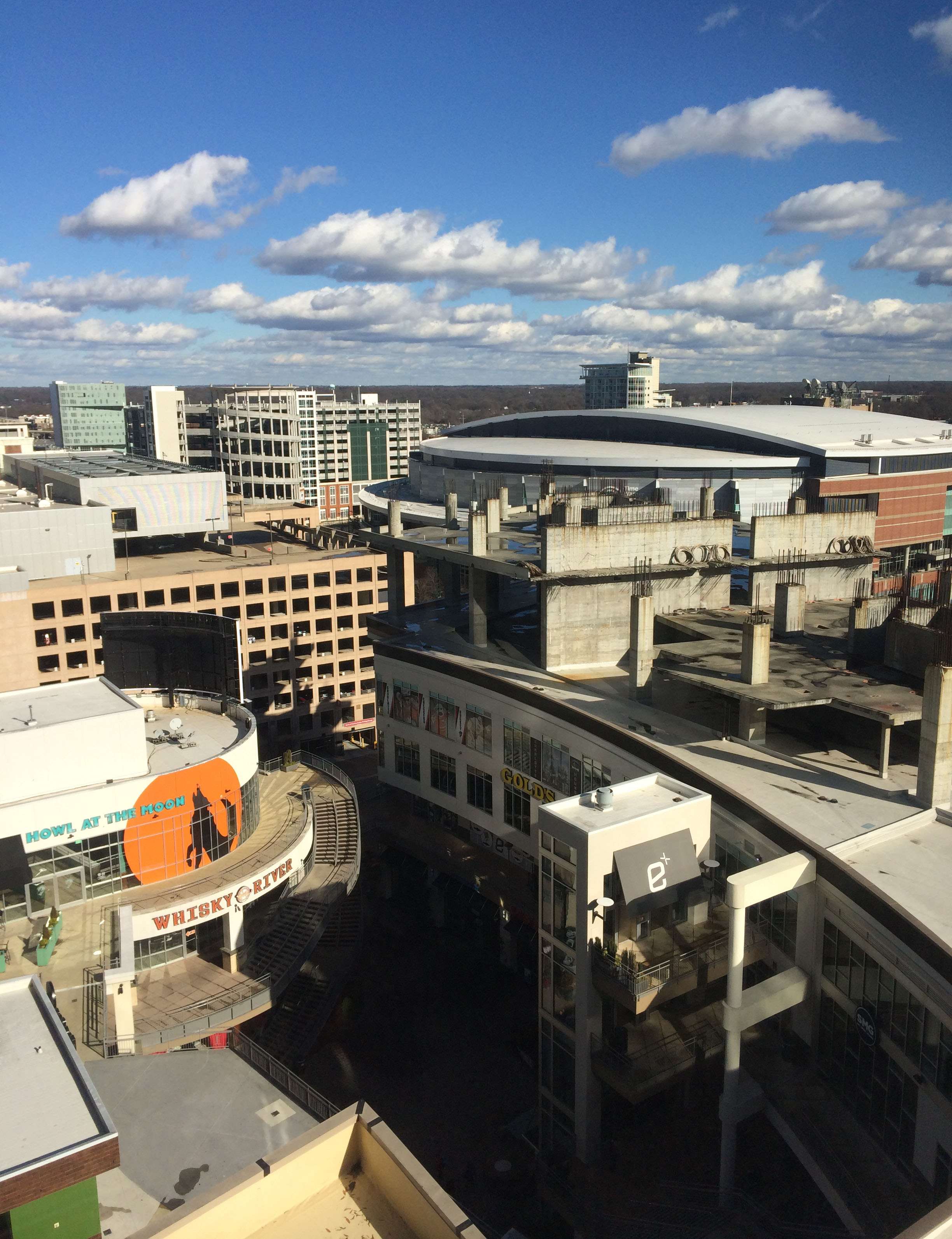 This was our view from our hotel room. You can see some of the Epicentre and Time Warner Arena.