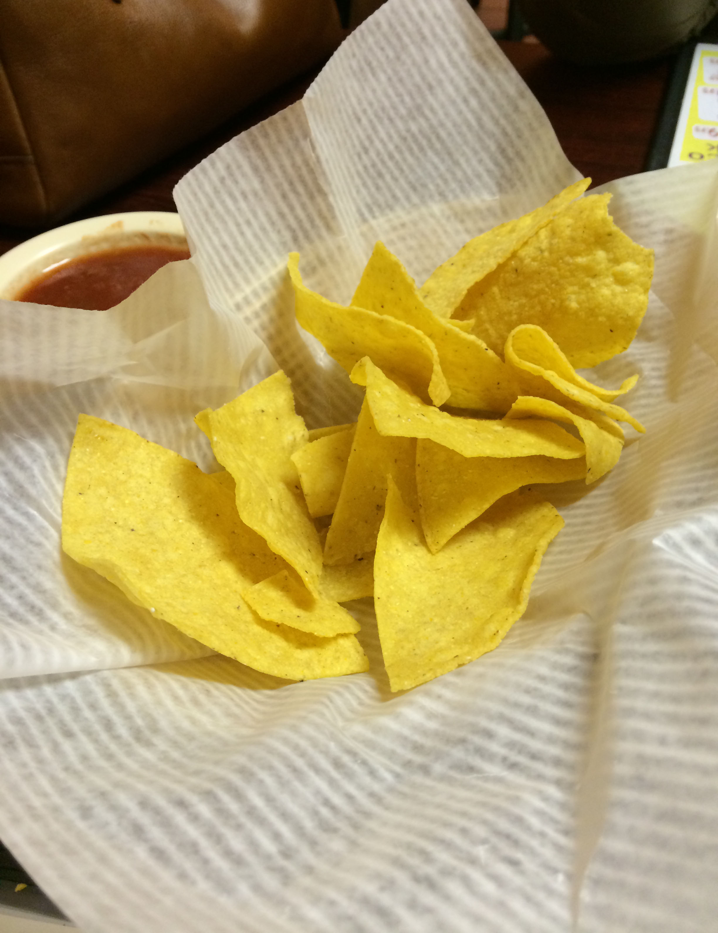 This was our chip basket when she brought it out. She never asked to re-fill it.