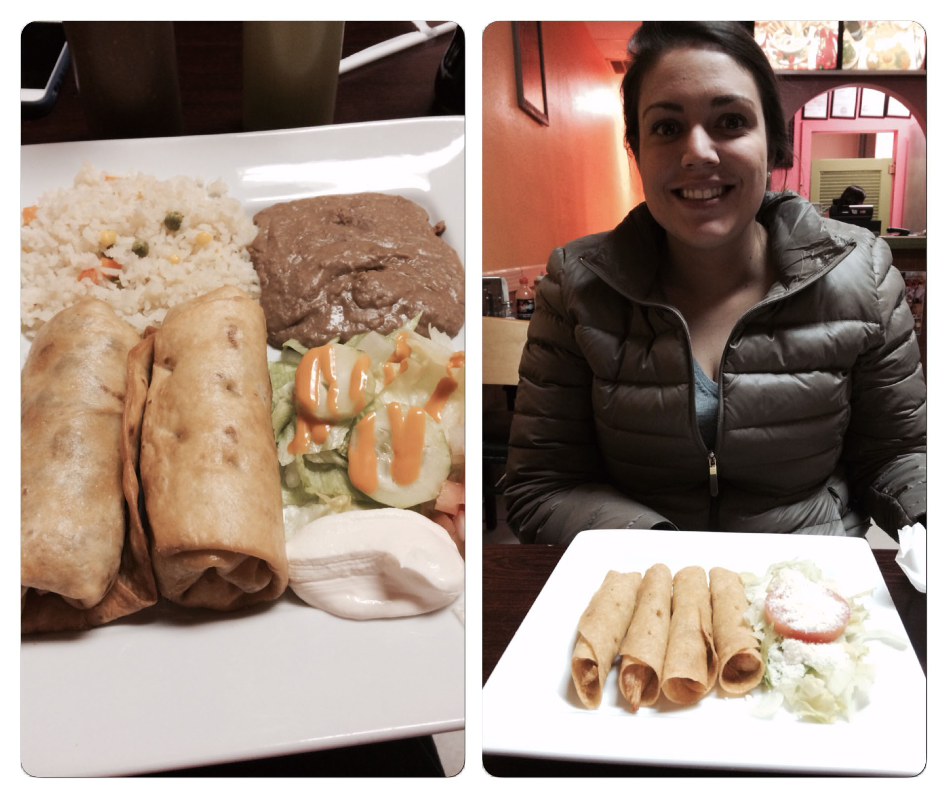 My food is on the left while Sid's is on the right.