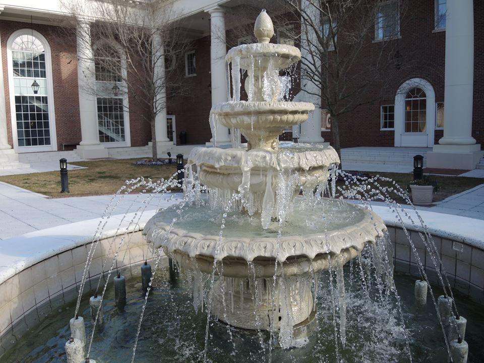 The fountain in the Edwards Courtyard was icing over.