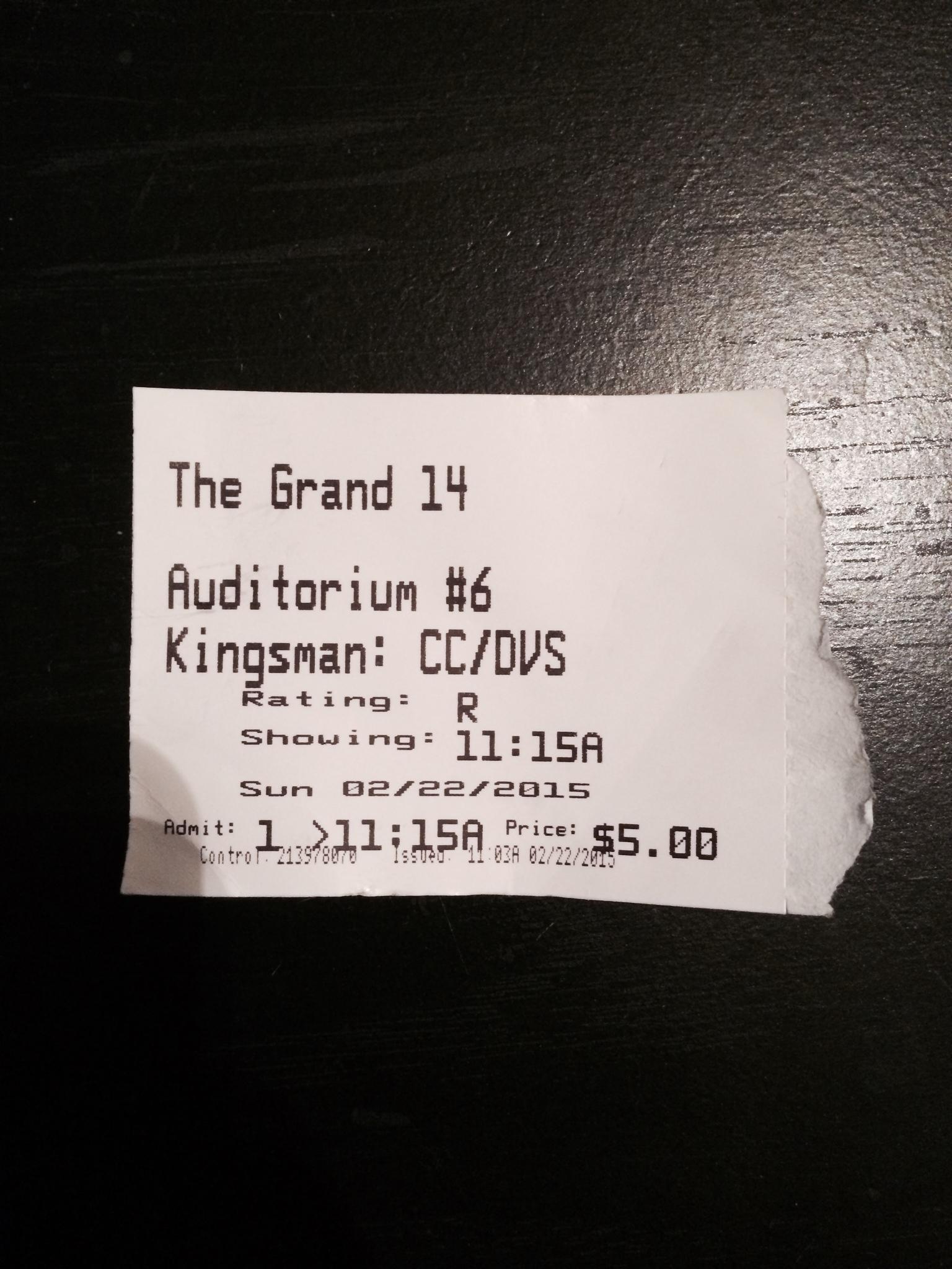 "My ticket for ""Kingsman: The Secret Service."""