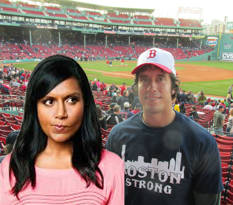 Hanging out with Mindy at a Red Sox game.