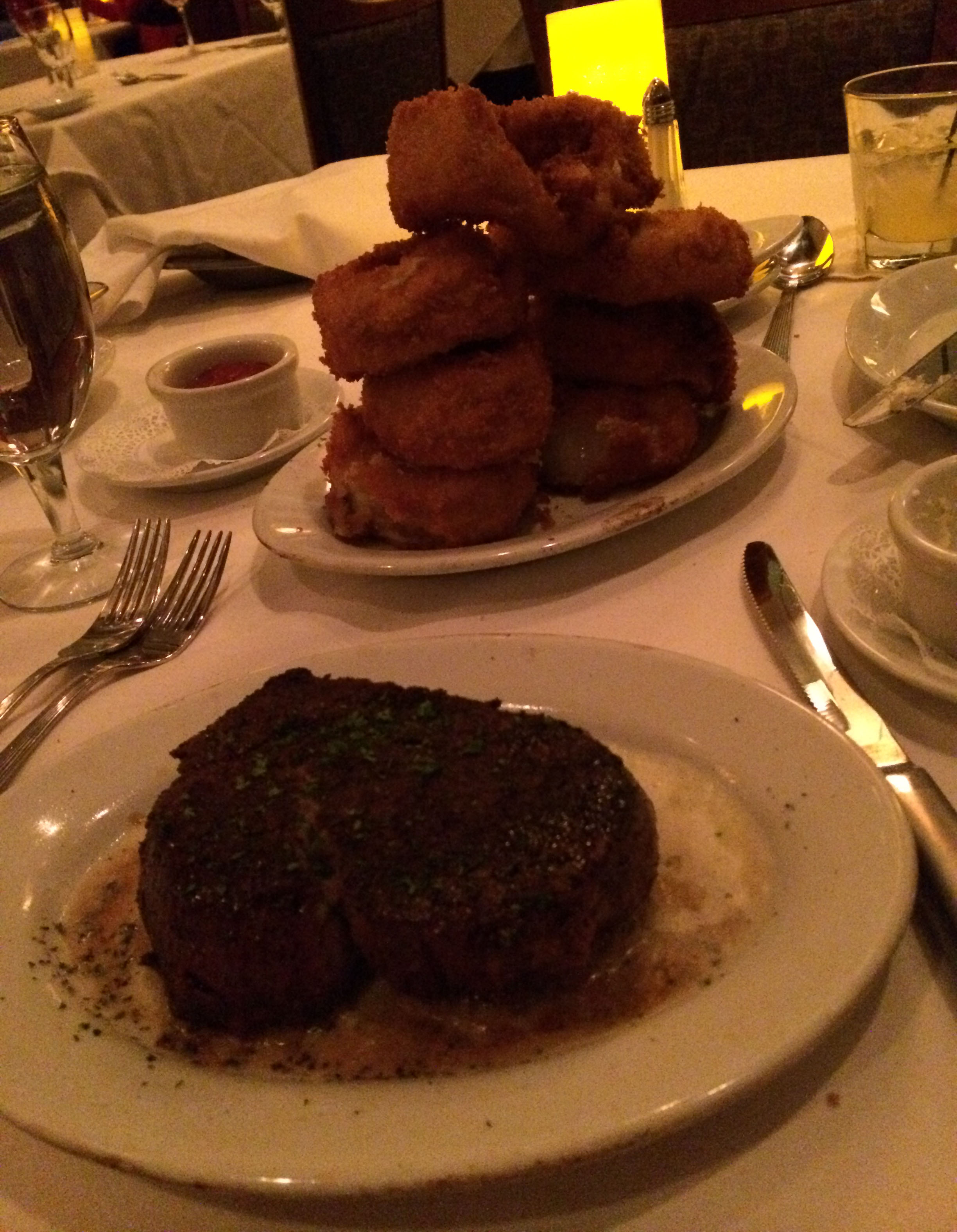 As you can see, the onion rings were just silly big. The steak is my filet.