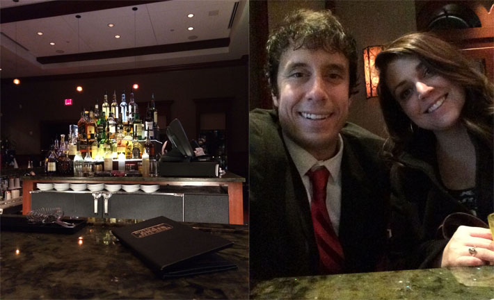 The Ruth's Chris bar and then Sidney and I sitting at it.