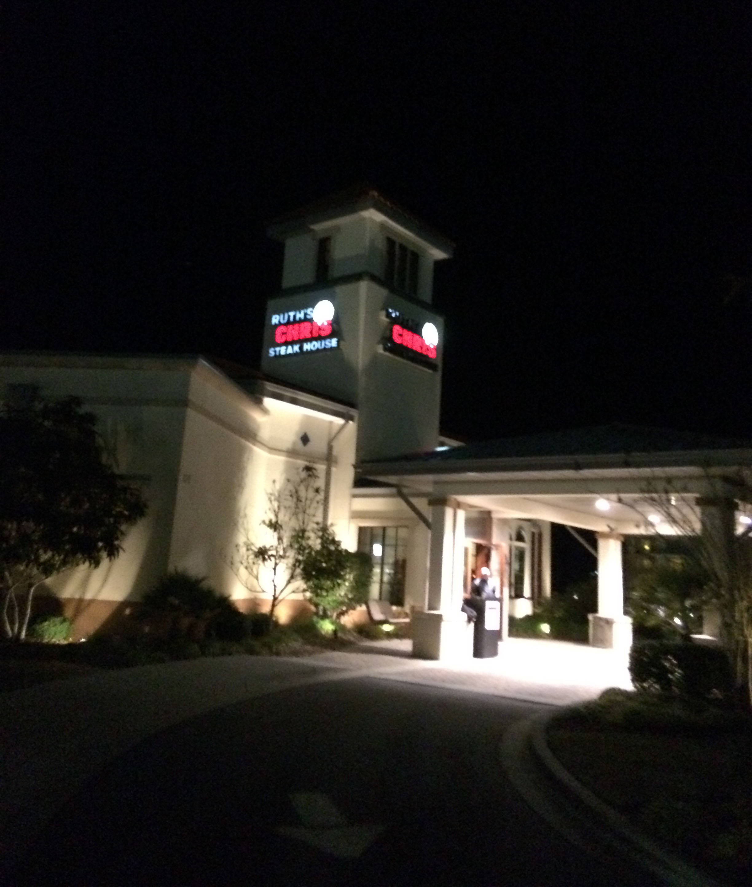 My blurry photo of the Myrtle Beach Ruth's Chris from the outside.